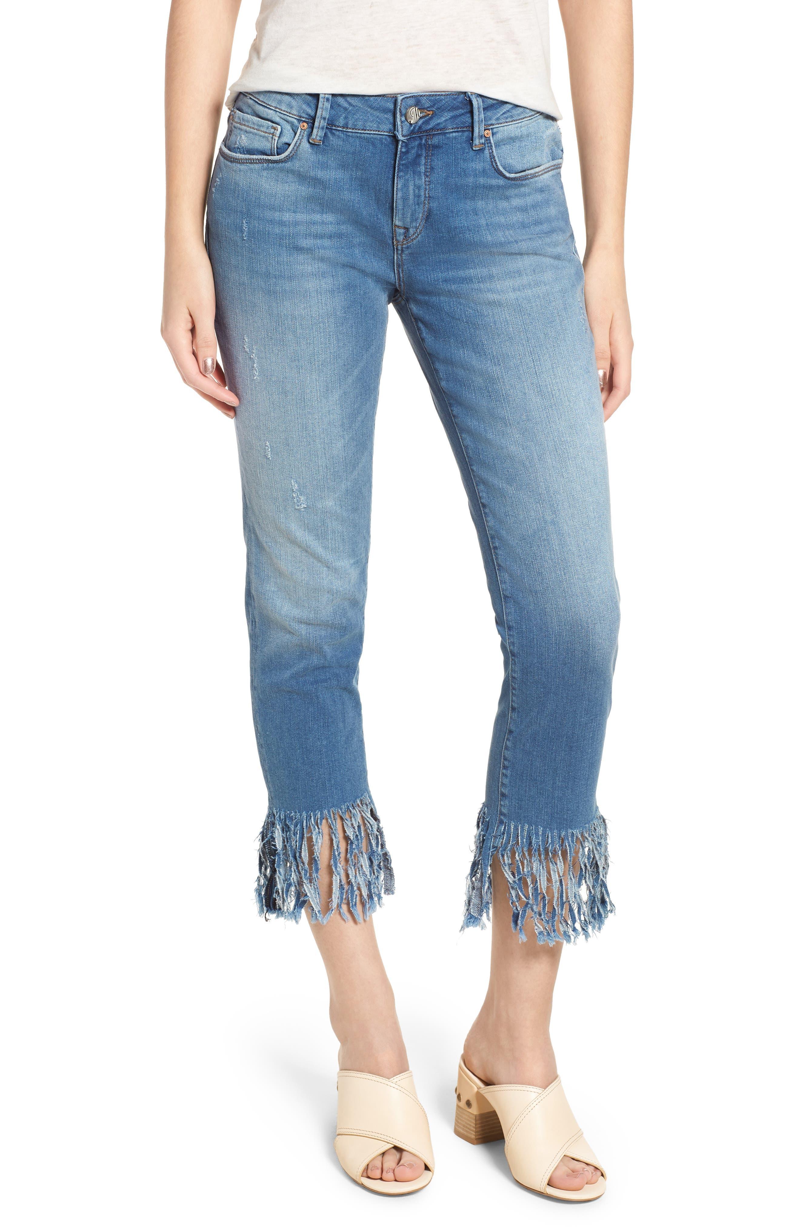 Kerry Fringe Hem Ankle Jeans,                             Main thumbnail 1, color,                             420