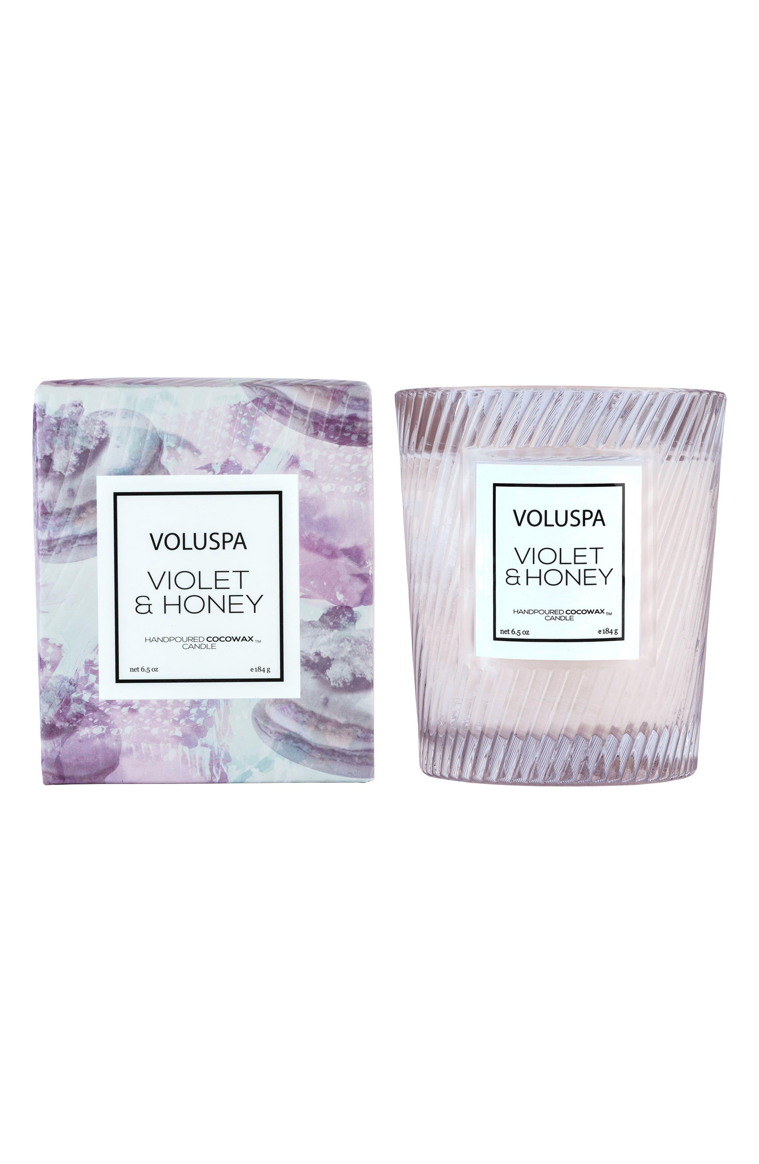 Macaron Violet & Honey Glass Candle,                             Main thumbnail 1, color,                             000