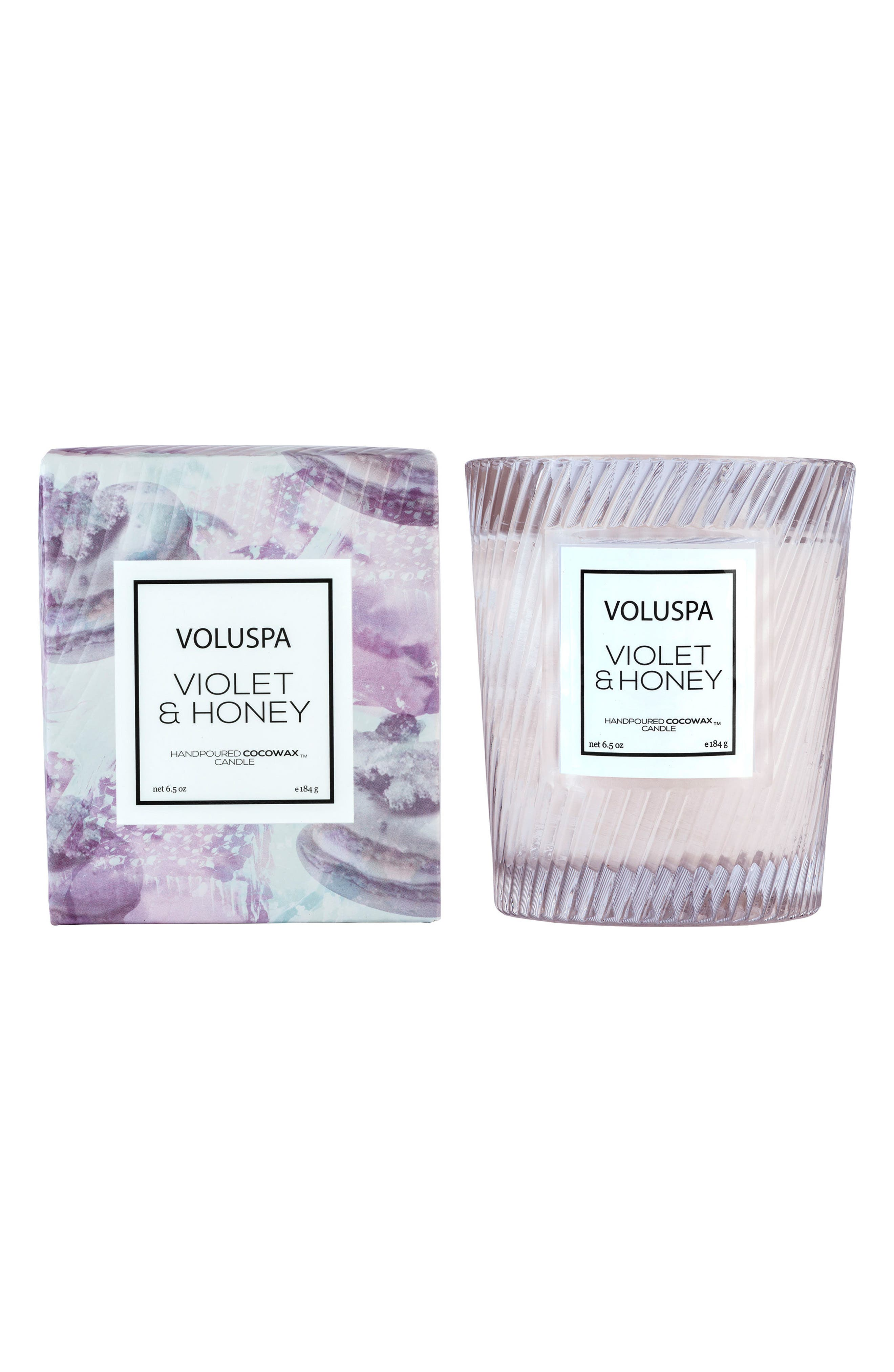 Macaron Violet & Honey Glass Candle, Main, color, 000