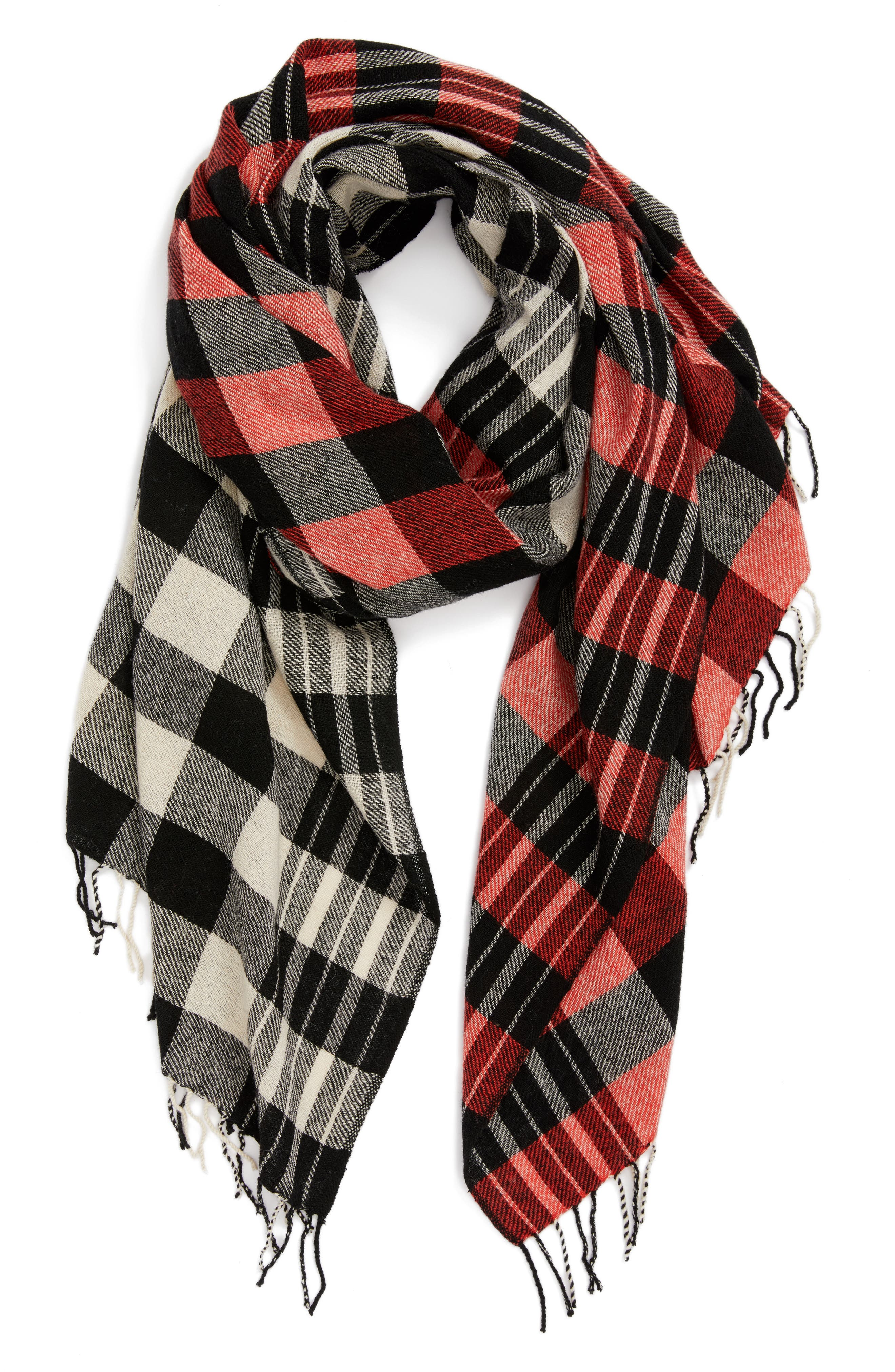 Checked Wool & Cashmere Scarf,                             Alternate thumbnail 2, color,