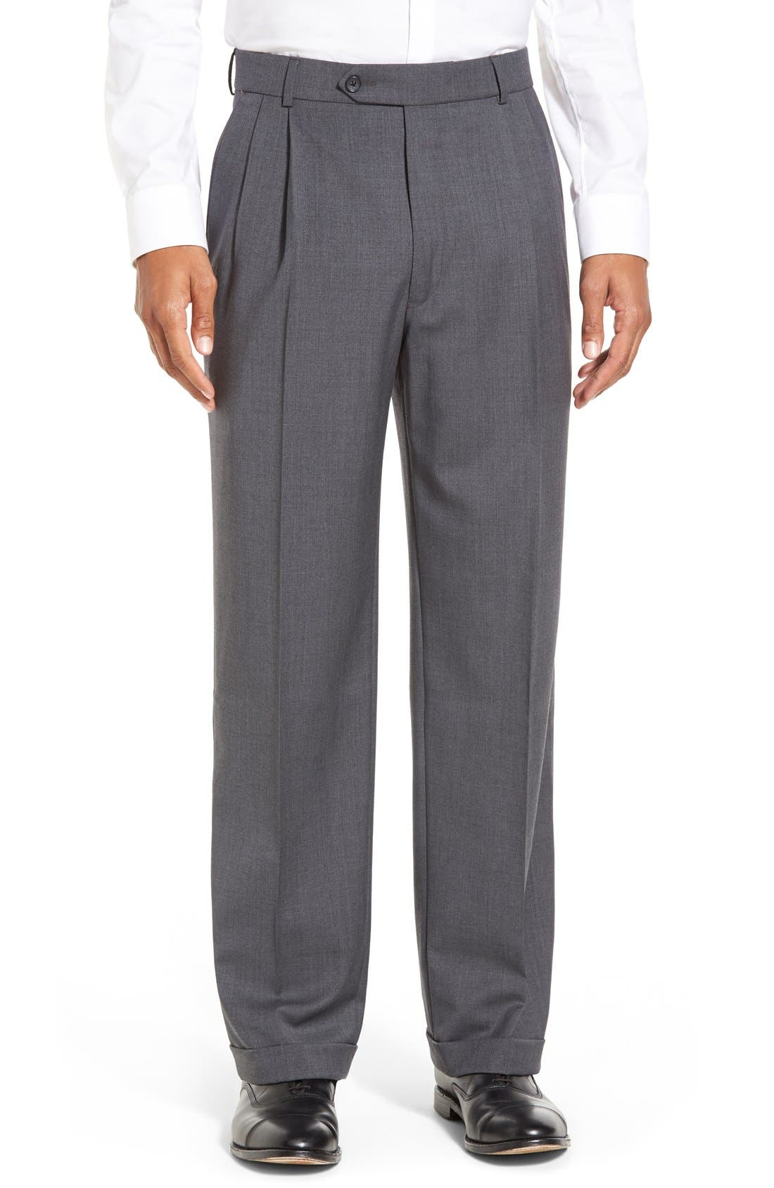 Pleated Solid Wool Trousers,                             Main thumbnail 6, color,
