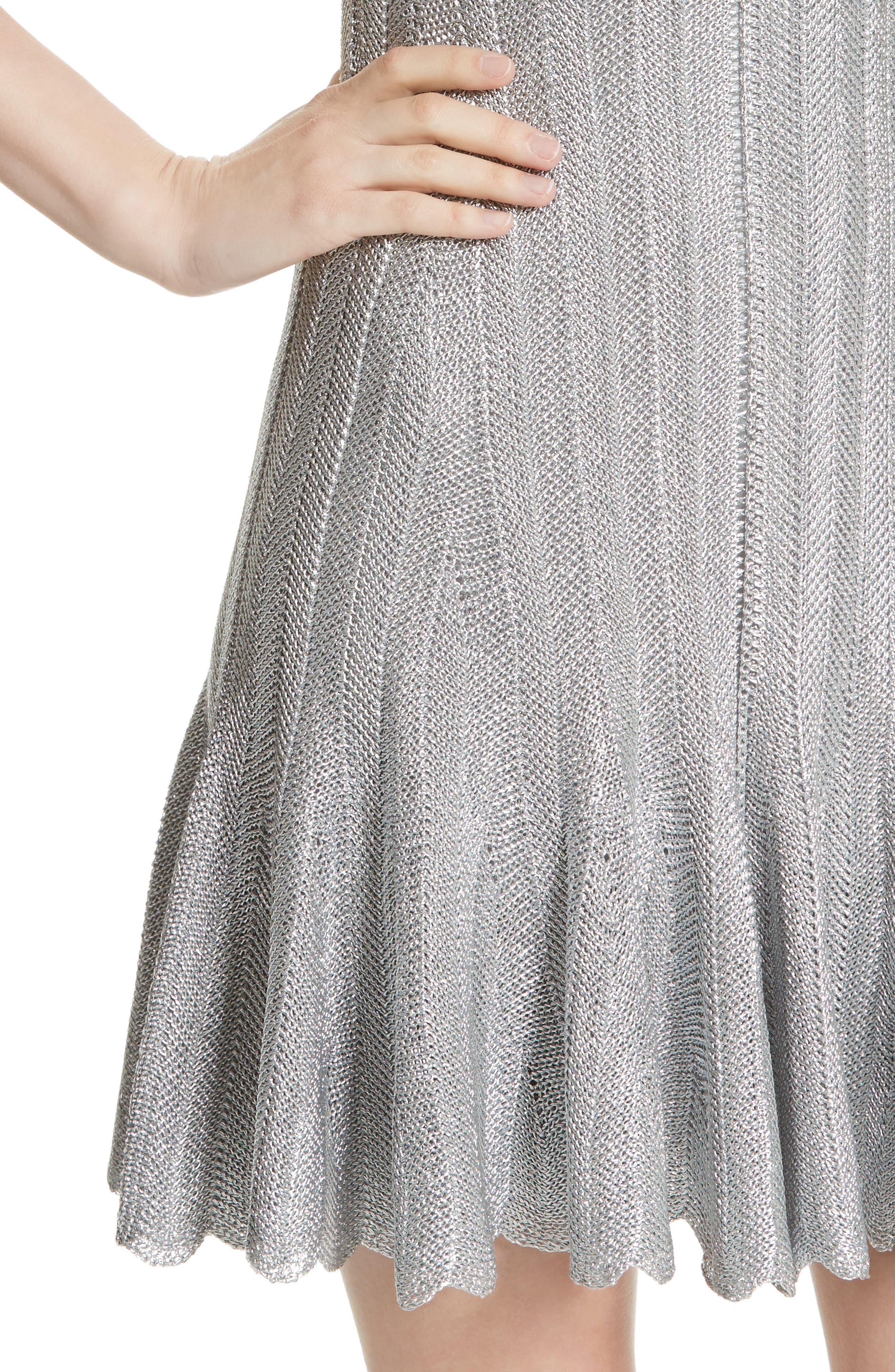 Metallic Knit Fit & Flare Dress,                             Alternate thumbnail 4, color,                             040