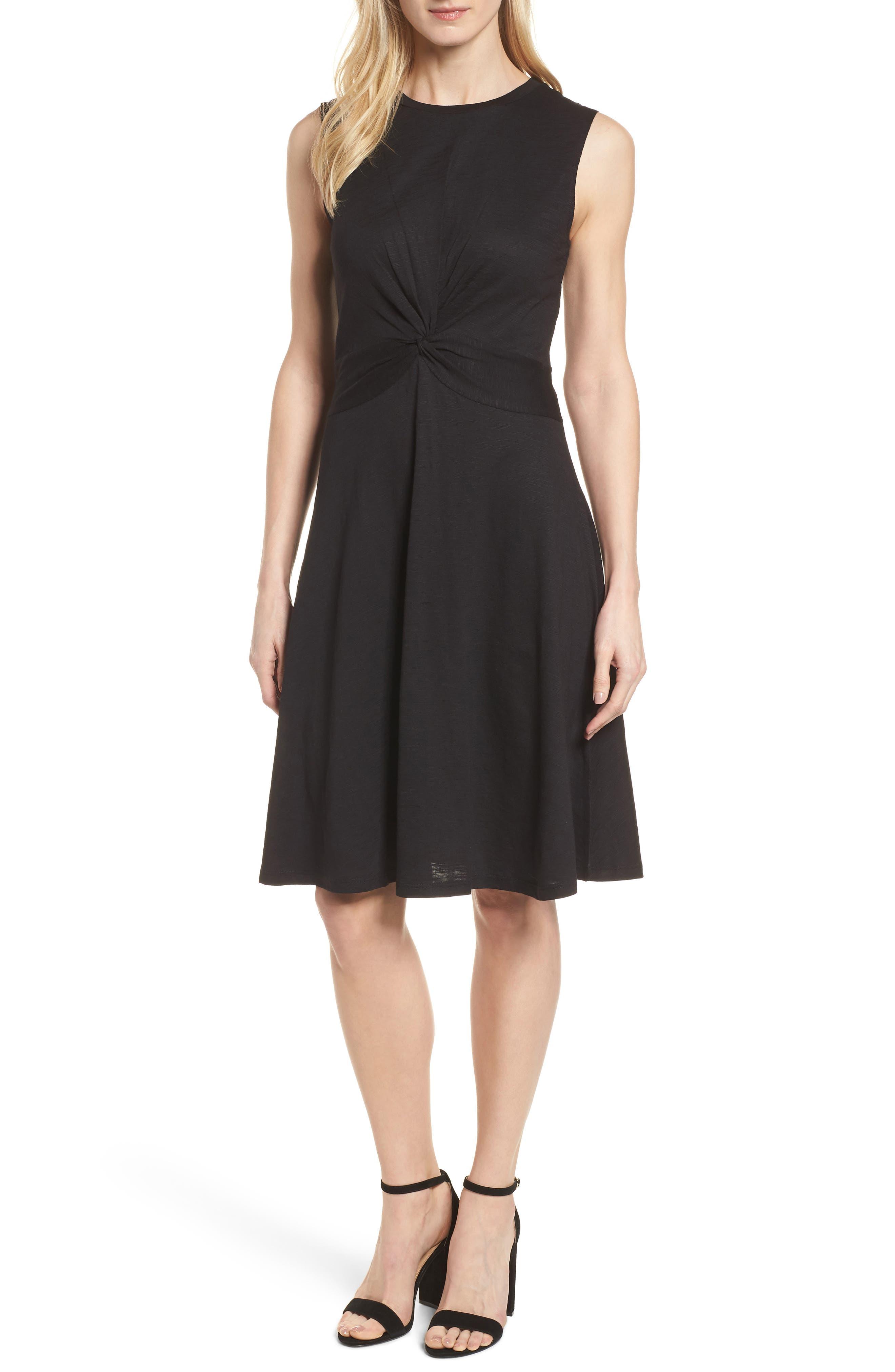 Twist Front Knit Dress,                         Main,                         color, 001