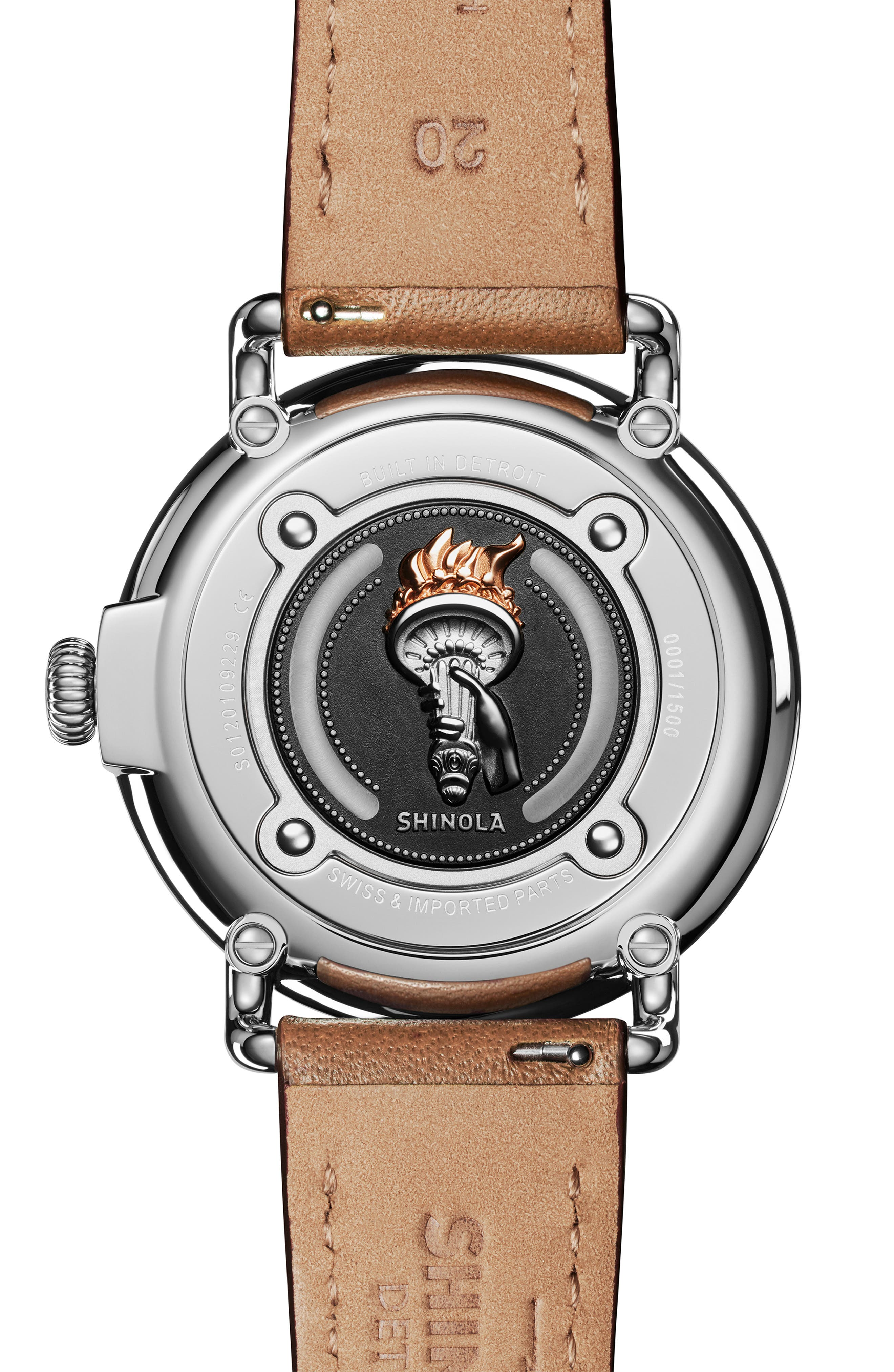 The Runwell - Statue of Liberty Leather Strap Watch, 41mm,                             Alternate thumbnail 2, color,                             BROWN/ GREY/ SILVER