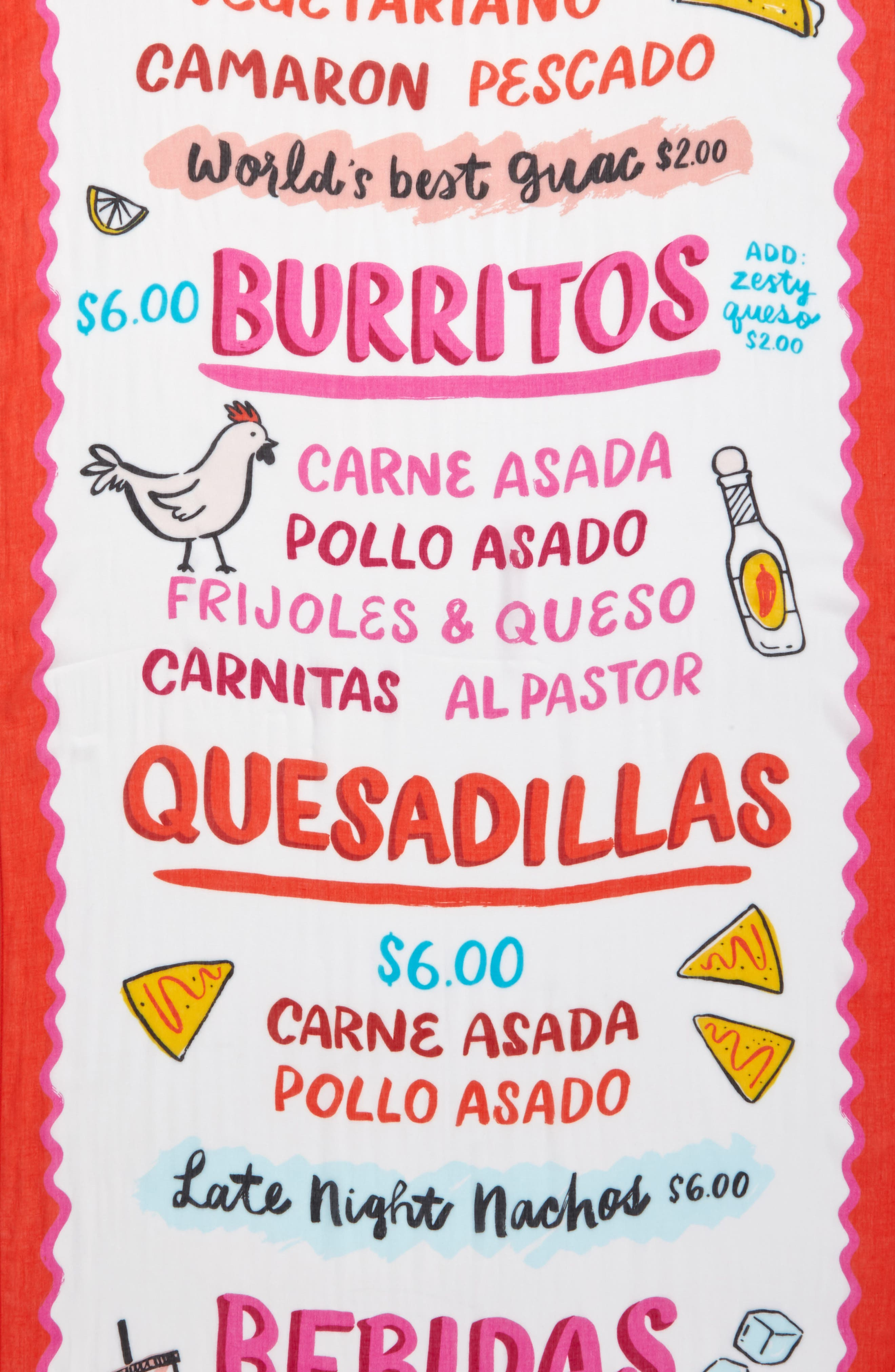 taco menu oblong scarf,                             Alternate thumbnail 4, color,                             900