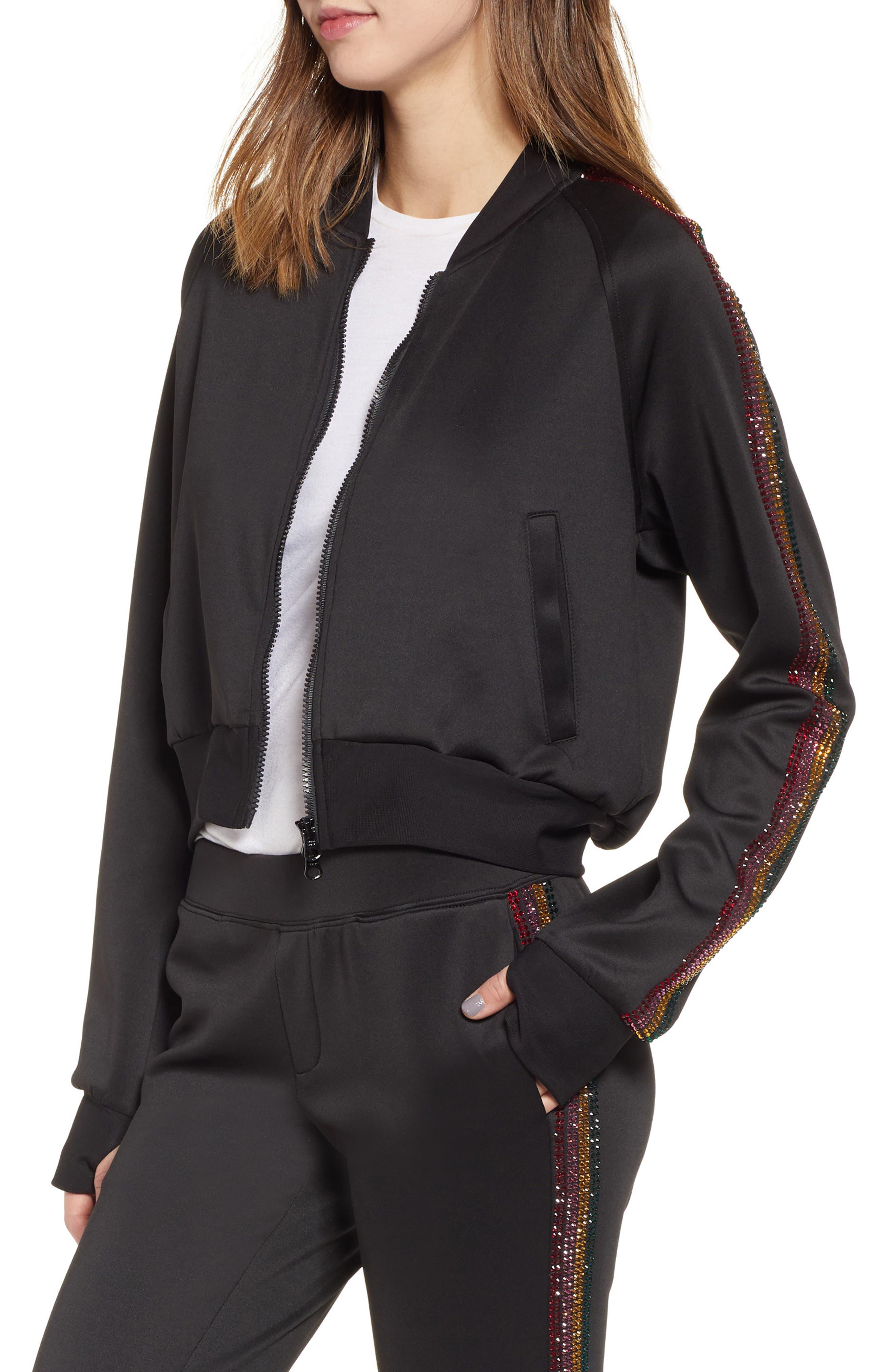 Sleeve Stripe Track Jacket,                             Main thumbnail 1, color,                             BLACK