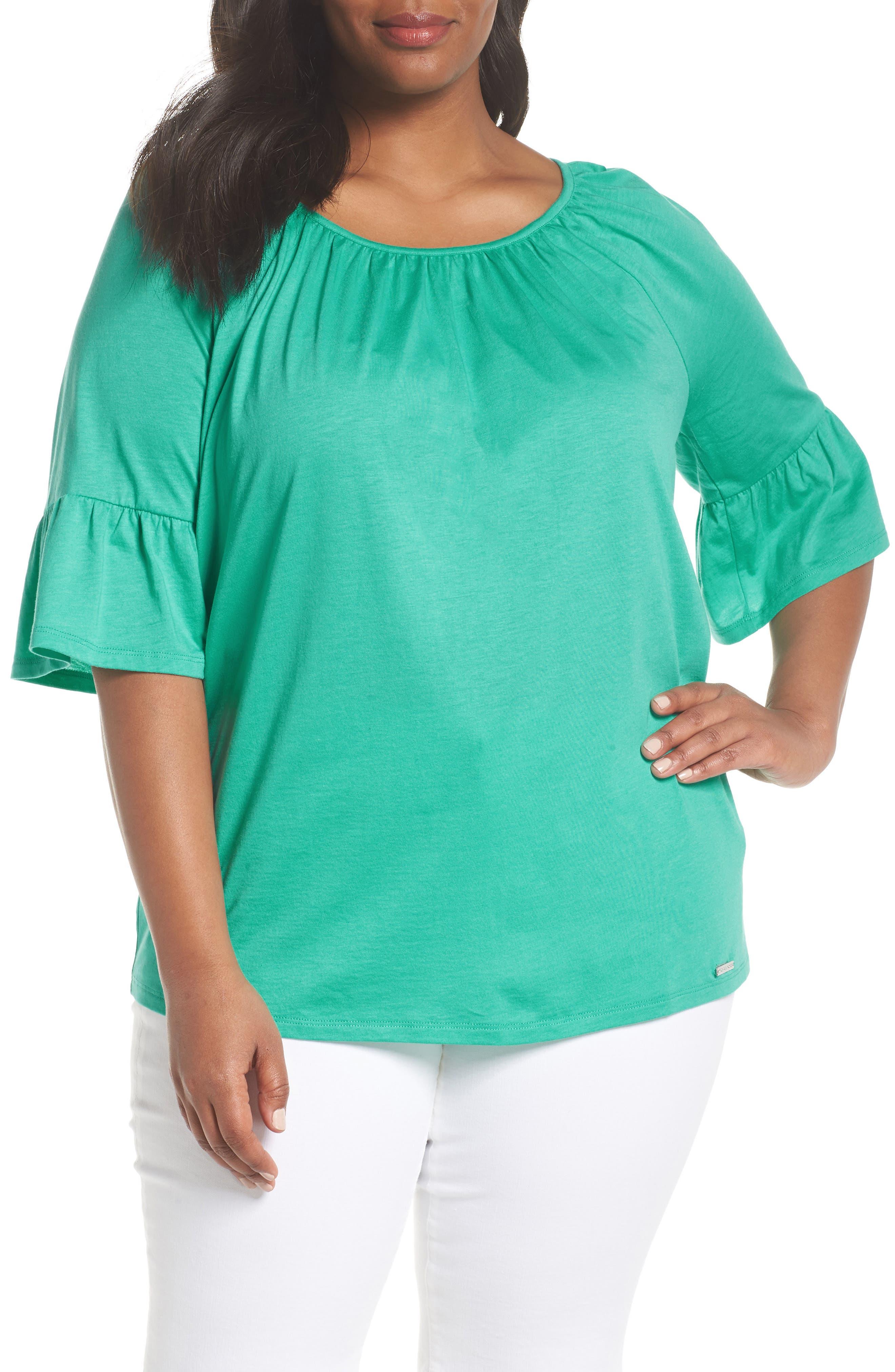Ruffle Sleeve Top,                         Main,                         color, AQUA