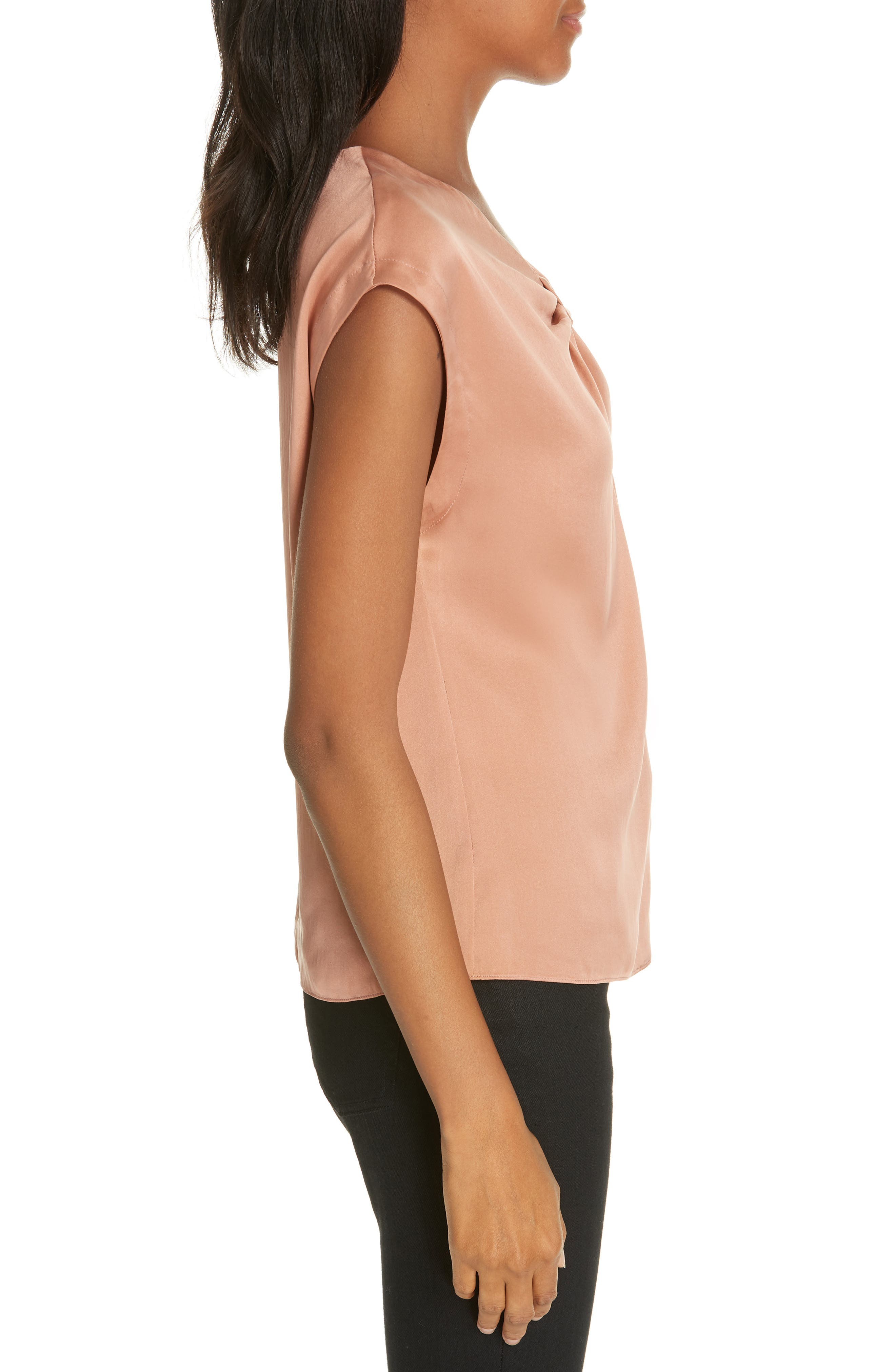 Charmeuse Knot Silk Top,                             Alternate thumbnail 3, color,                             COPPER
