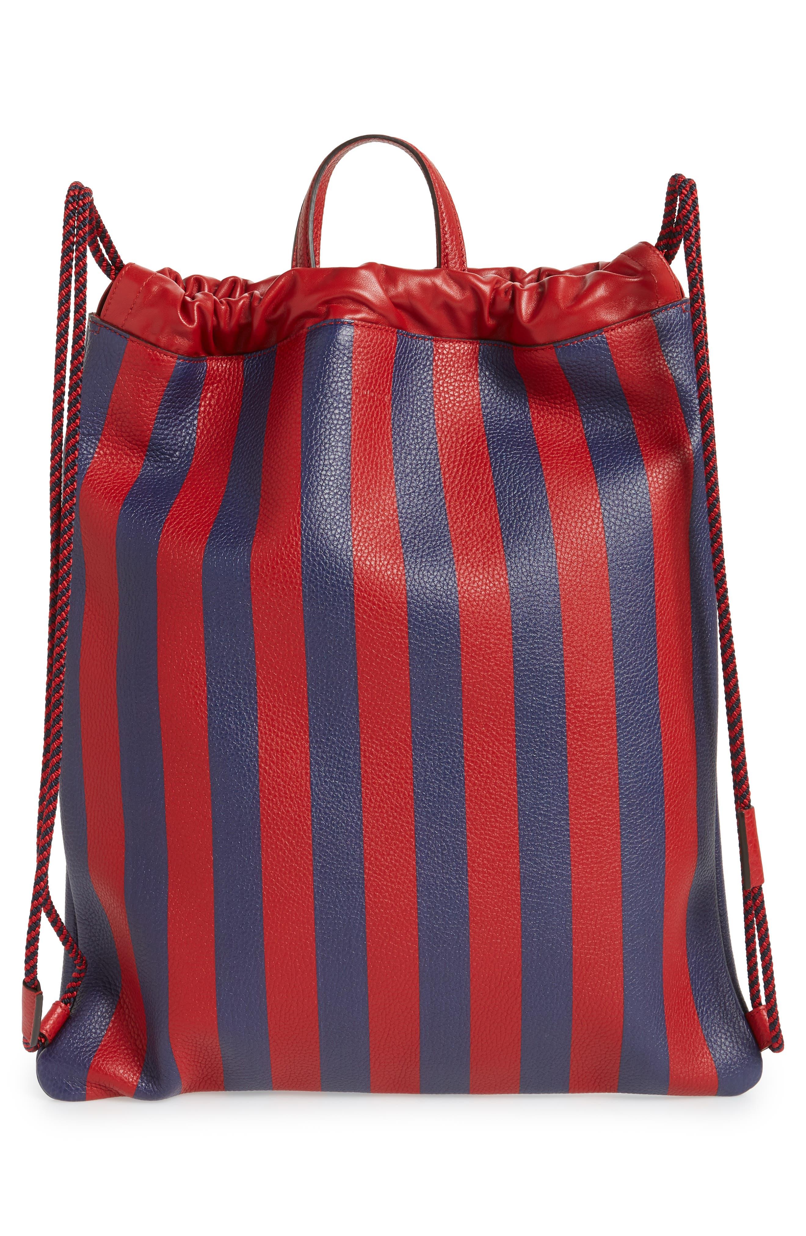 Kingsnake Stripe Leather Drawstring Backpack,                             Alternate thumbnail 3, color,                             RED