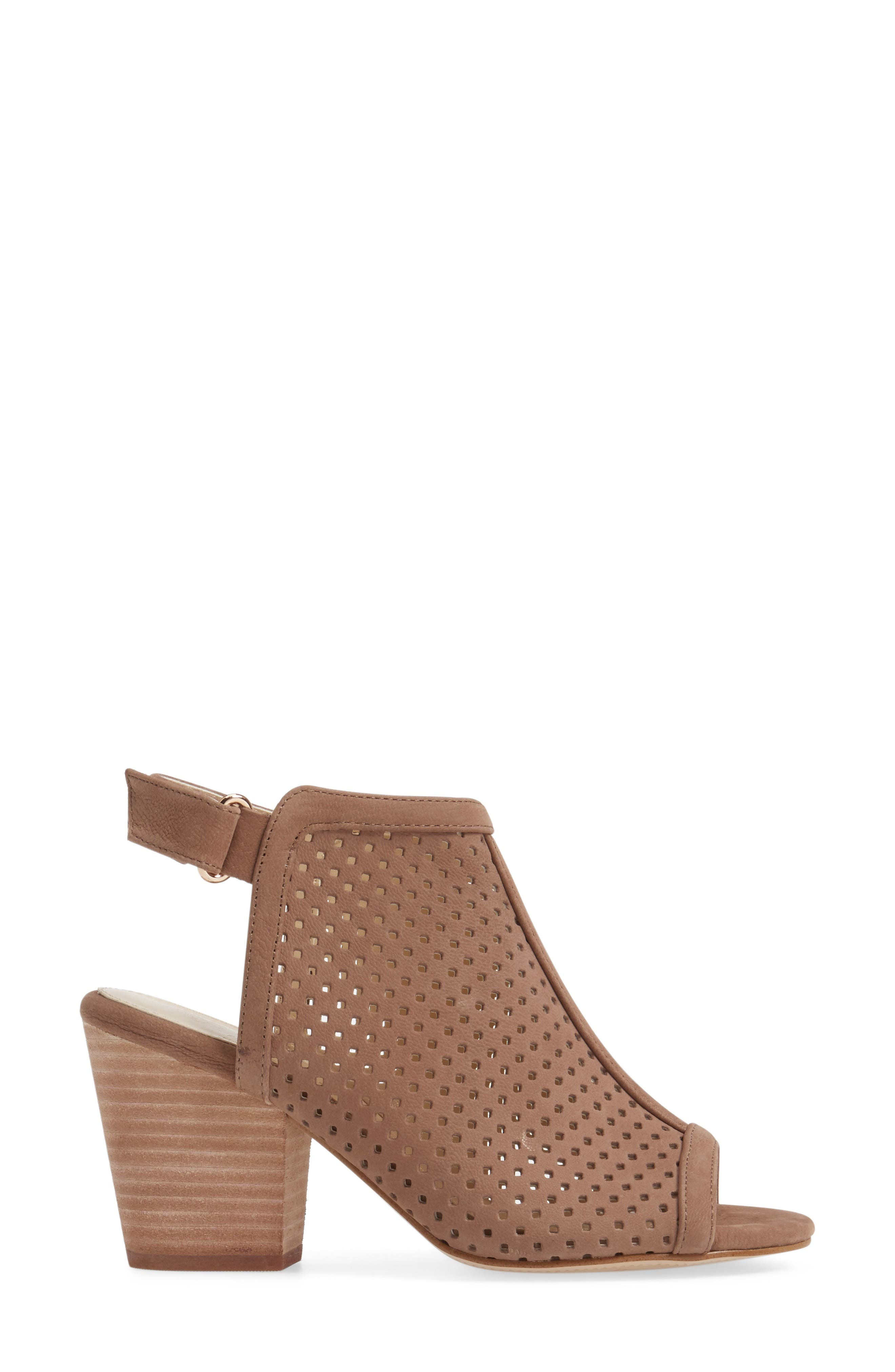 'Lora' Perforated Open-Toe Bootie Sandal,                             Alternate thumbnail 3, color,                             BARLEY LEATHER