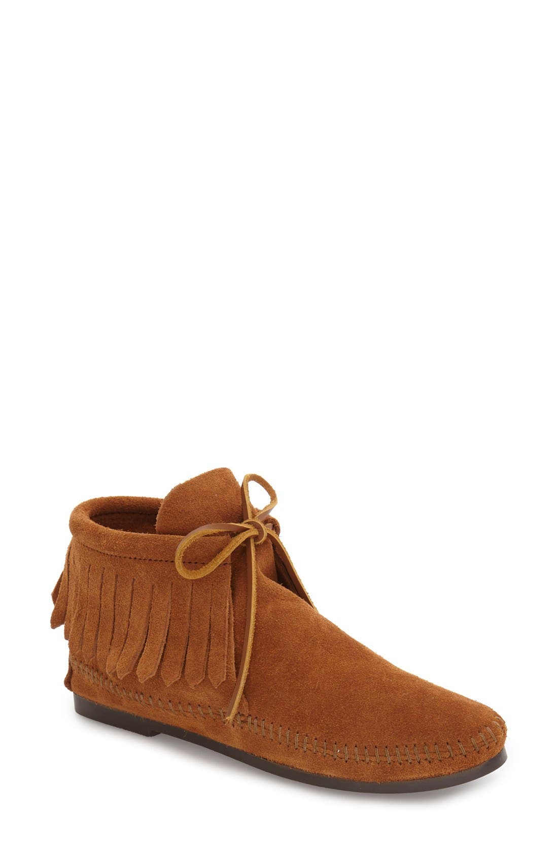 Classic Fringed Chukka Style Boot,                             Main thumbnail 1, color,                             BROWN