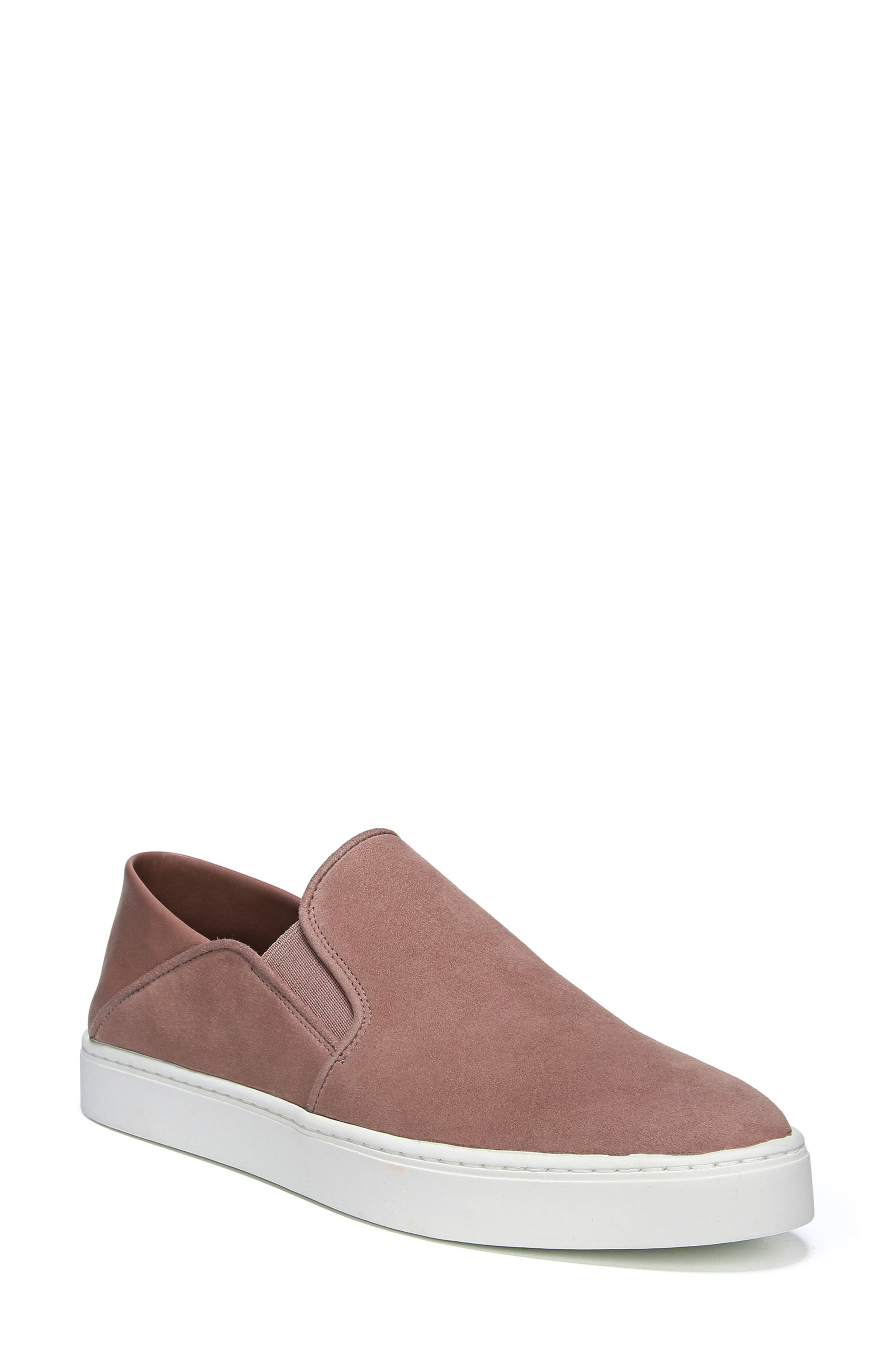 Women'S Garvey Round Toe Slip-On Suede & Leather Sneakers in Antique Rose
