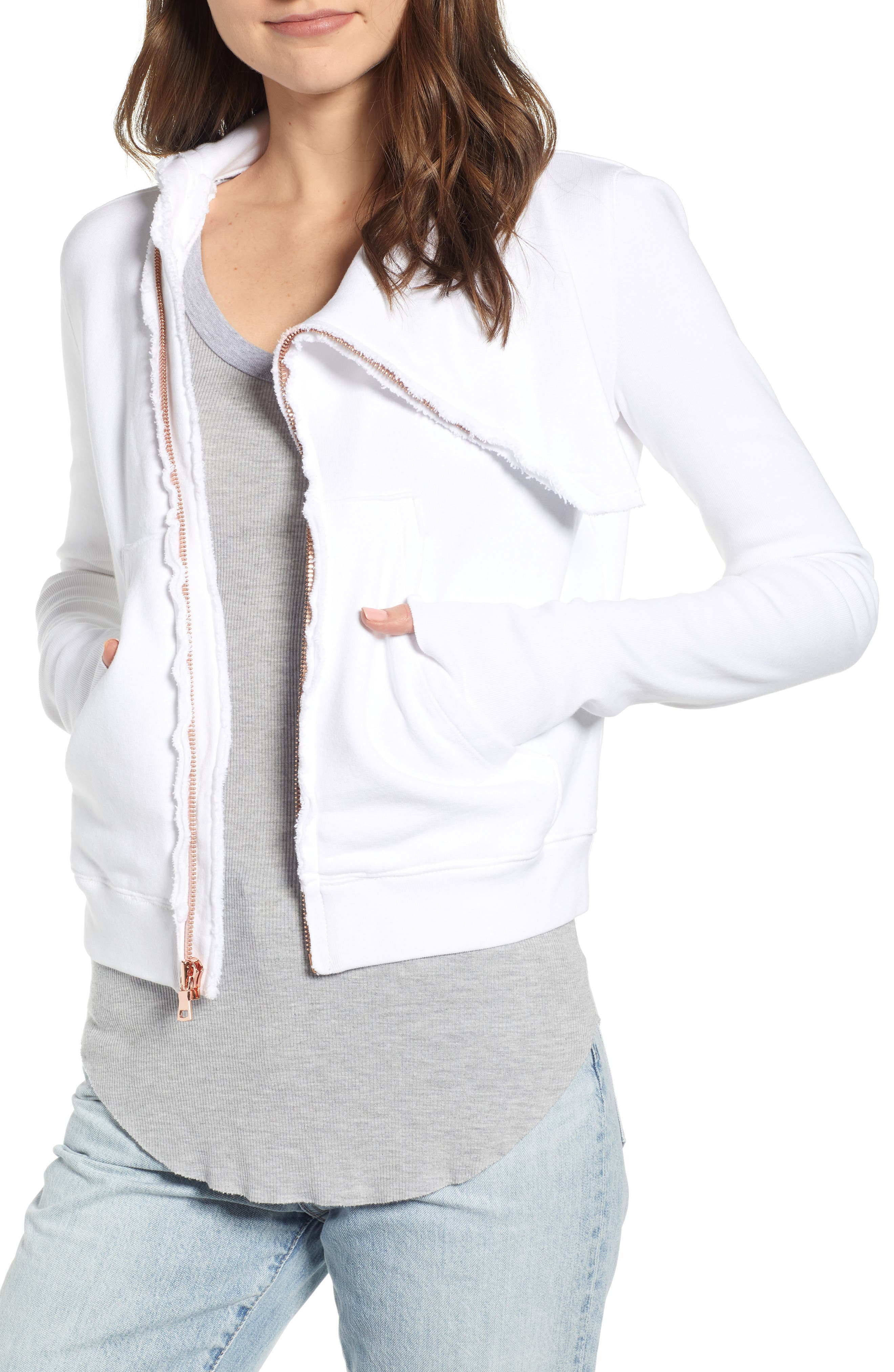 Frank & Eileen Asymmetrical Zip Fleece Jacket, White
