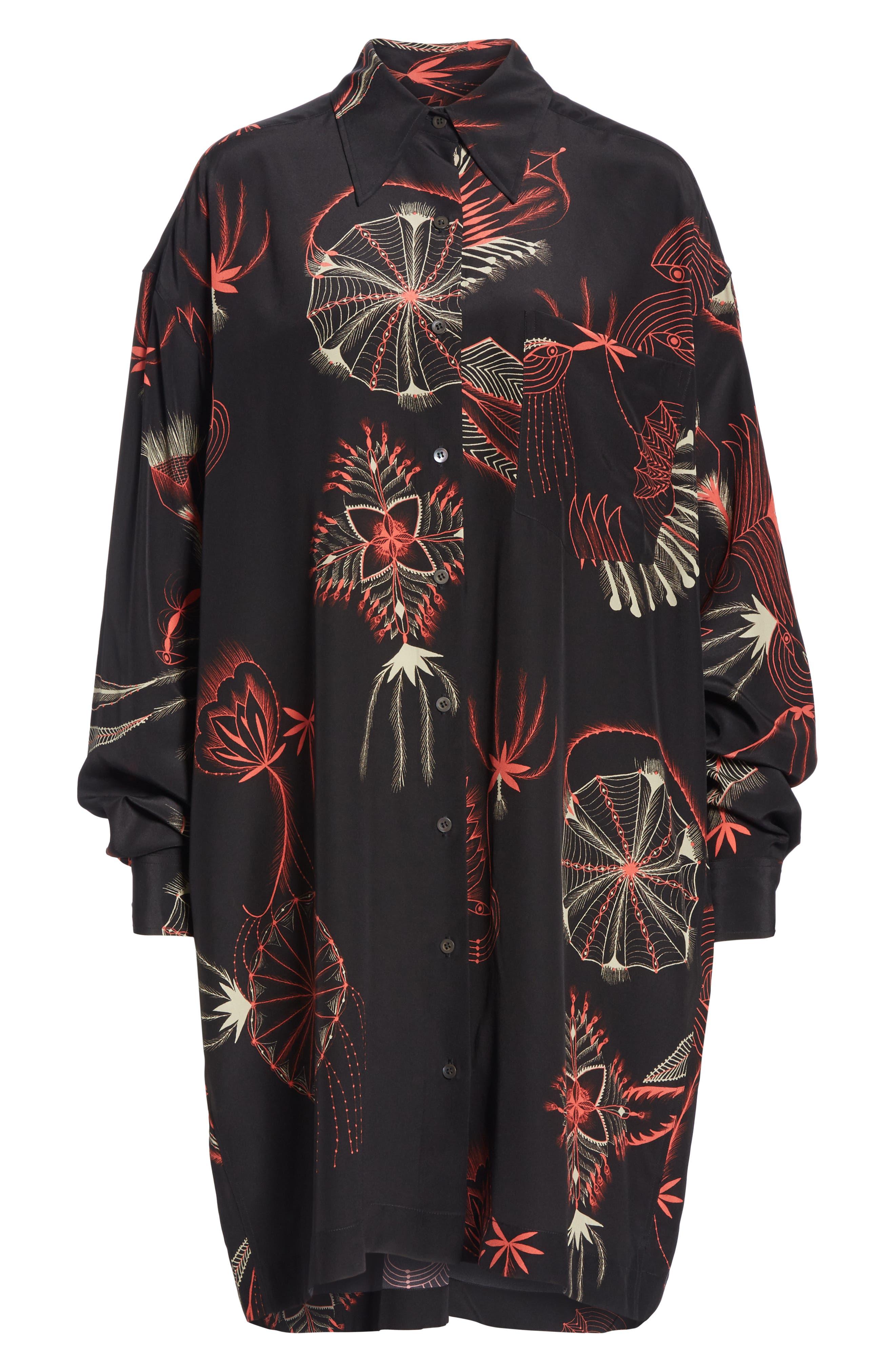 Coral Print Silk Shirtdress,                             Alternate thumbnail 6, color,                             BLACK