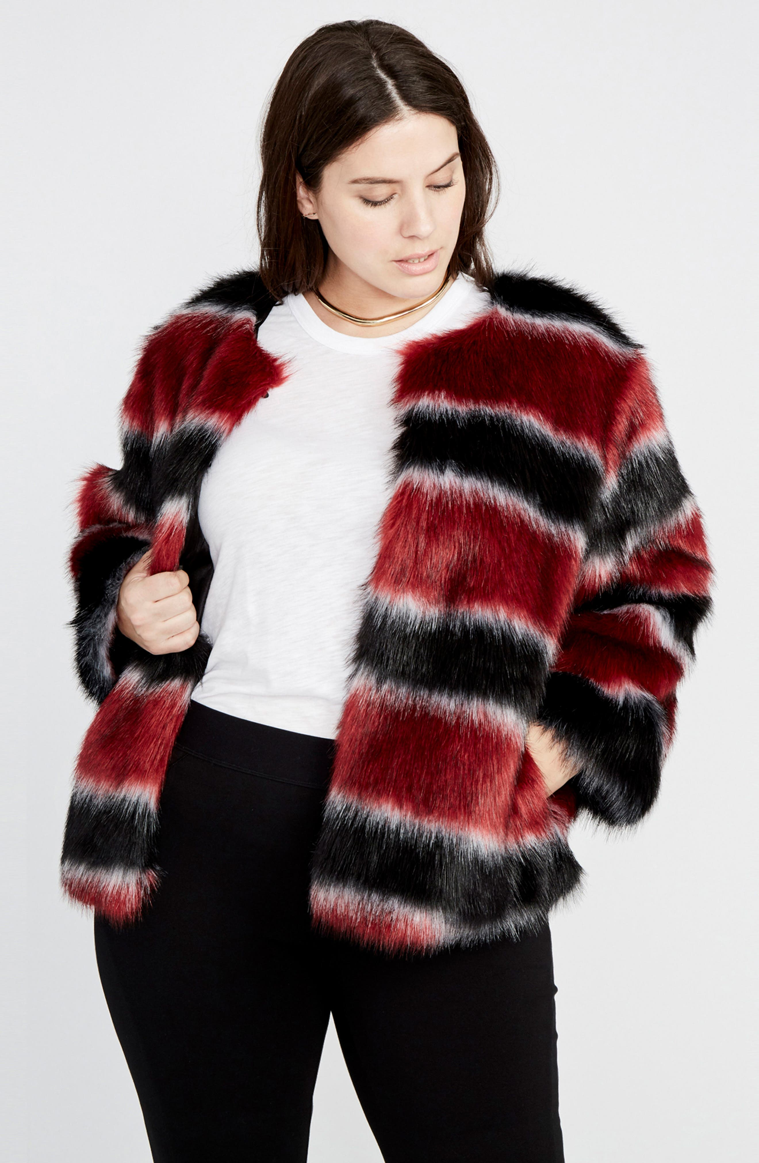 Stripe Faux Fur Coat,                             Alternate thumbnail 3, color,                             001