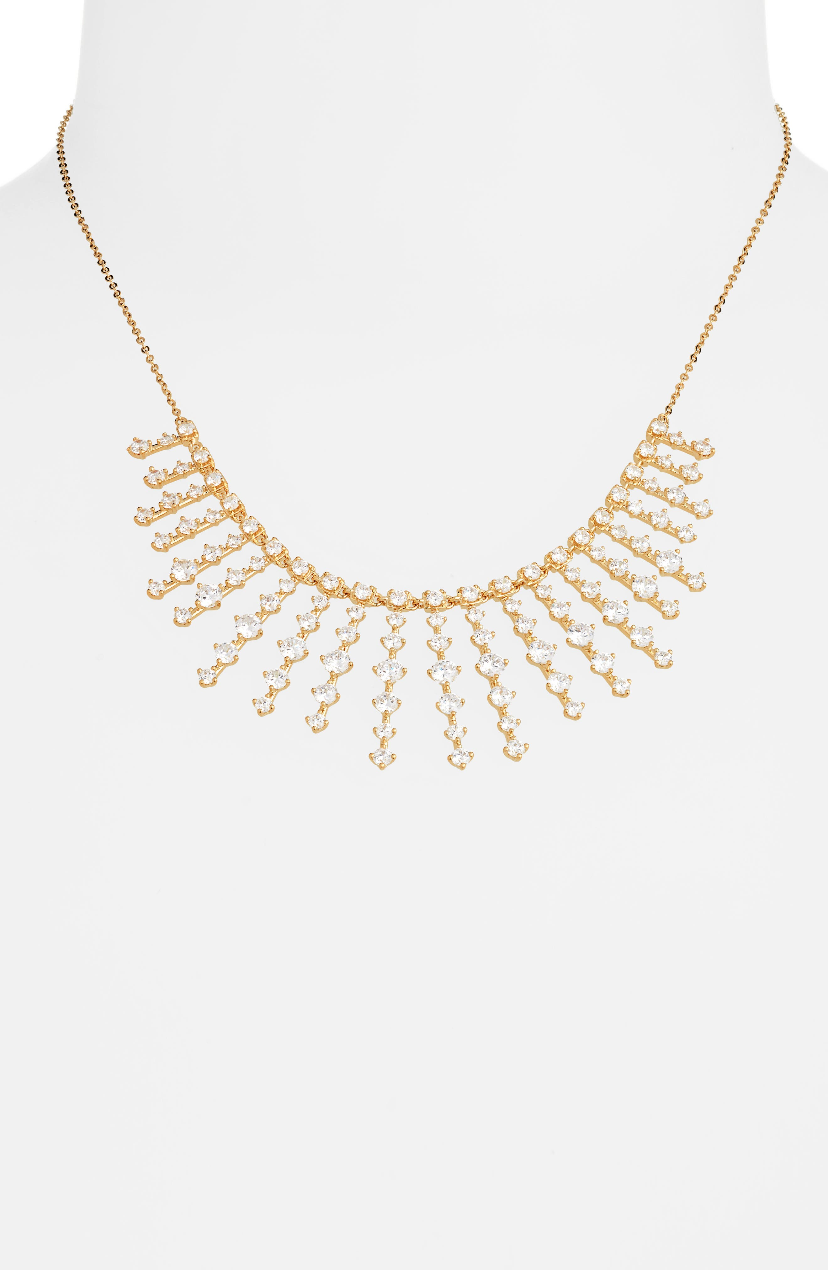 NORDSTROM,                             Stone Bar Bib Statement Necklace,                             Alternate thumbnail 2, color,                             CLEAR- GOLD