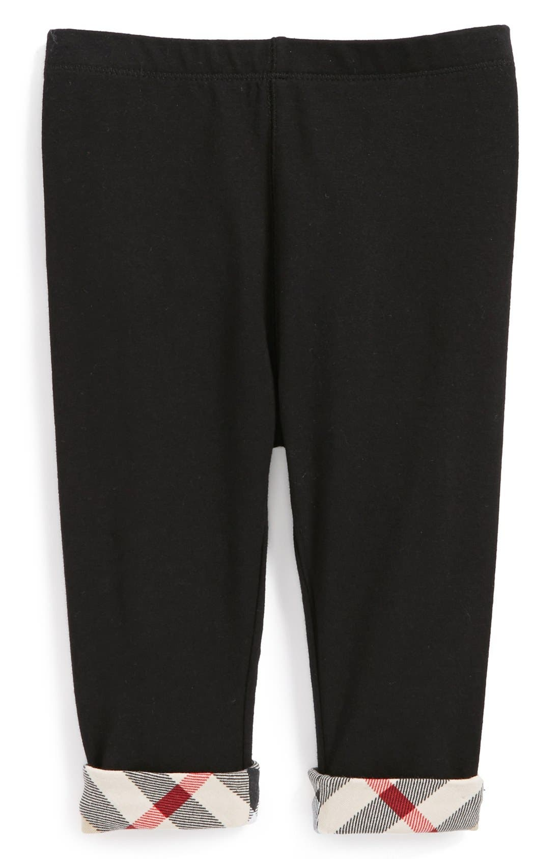 BURBERRY,                             Check Cuff Pants,                             Alternate thumbnail 6, color,                             001