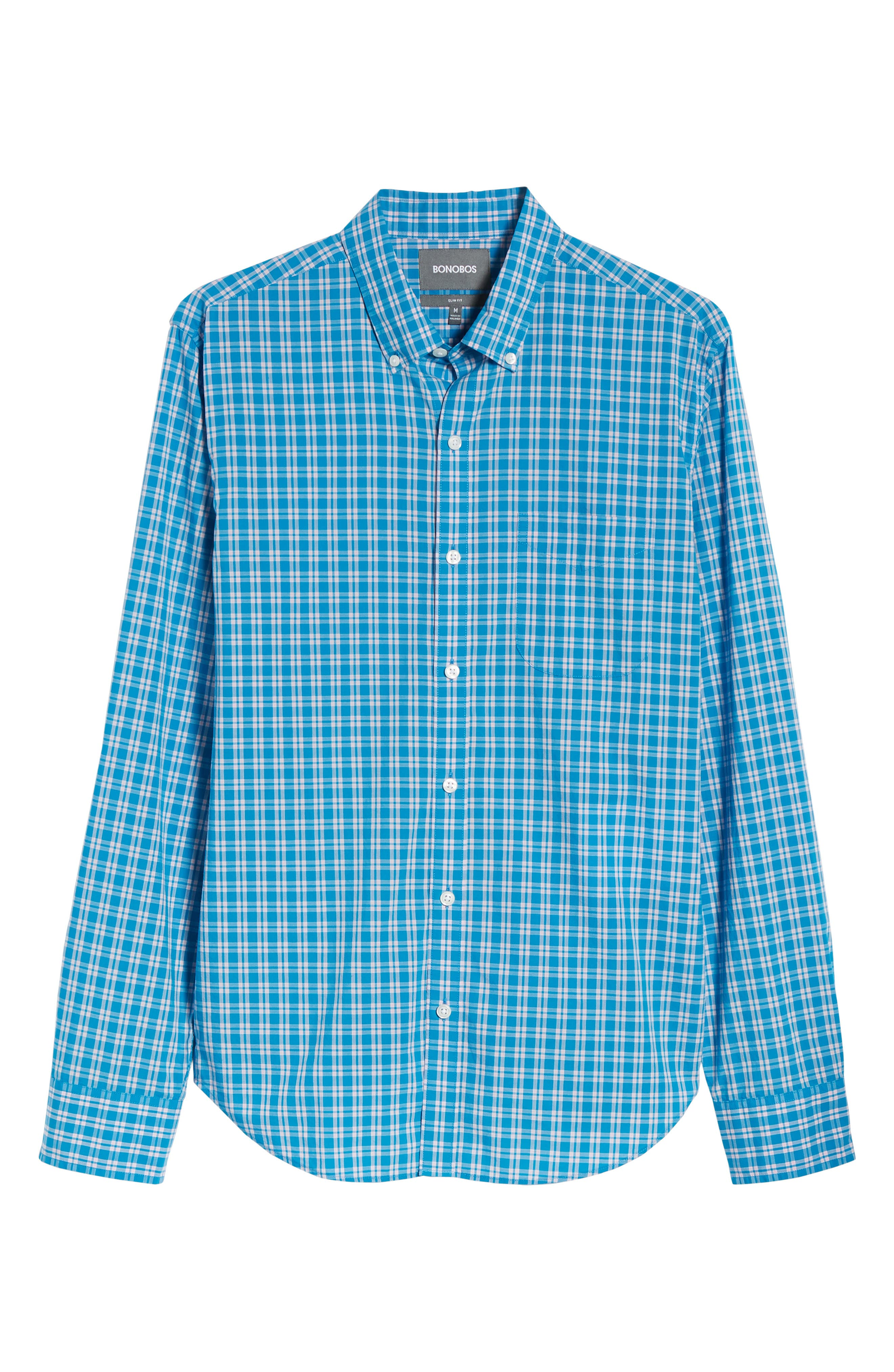 Summerweight Slim Fit Check Sport Shirt,                             Alternate thumbnail 6, color,                             400