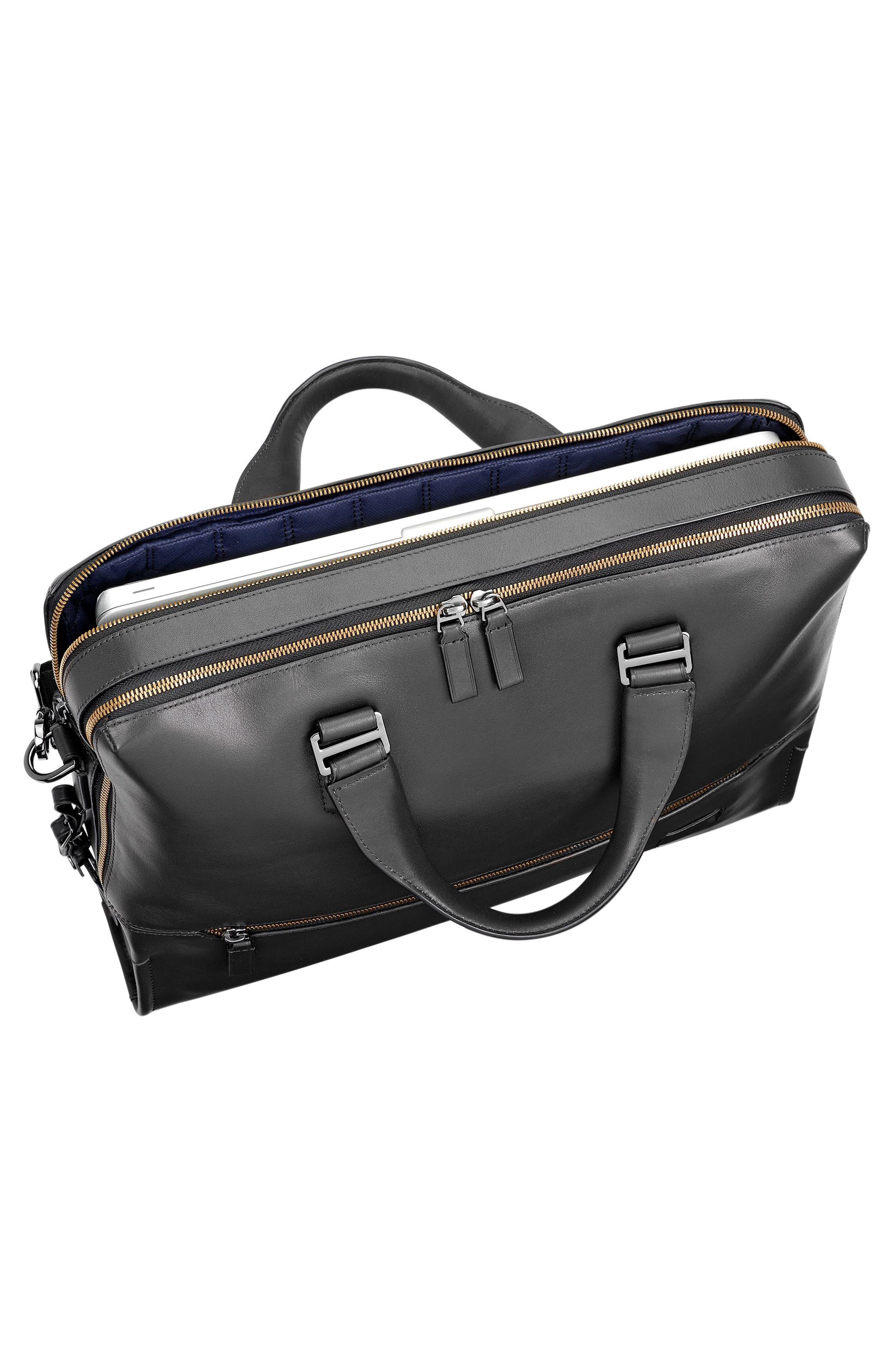 Harrison Horton Double Zip Leather Briefcase,                             Alternate thumbnail 3, color,                             001