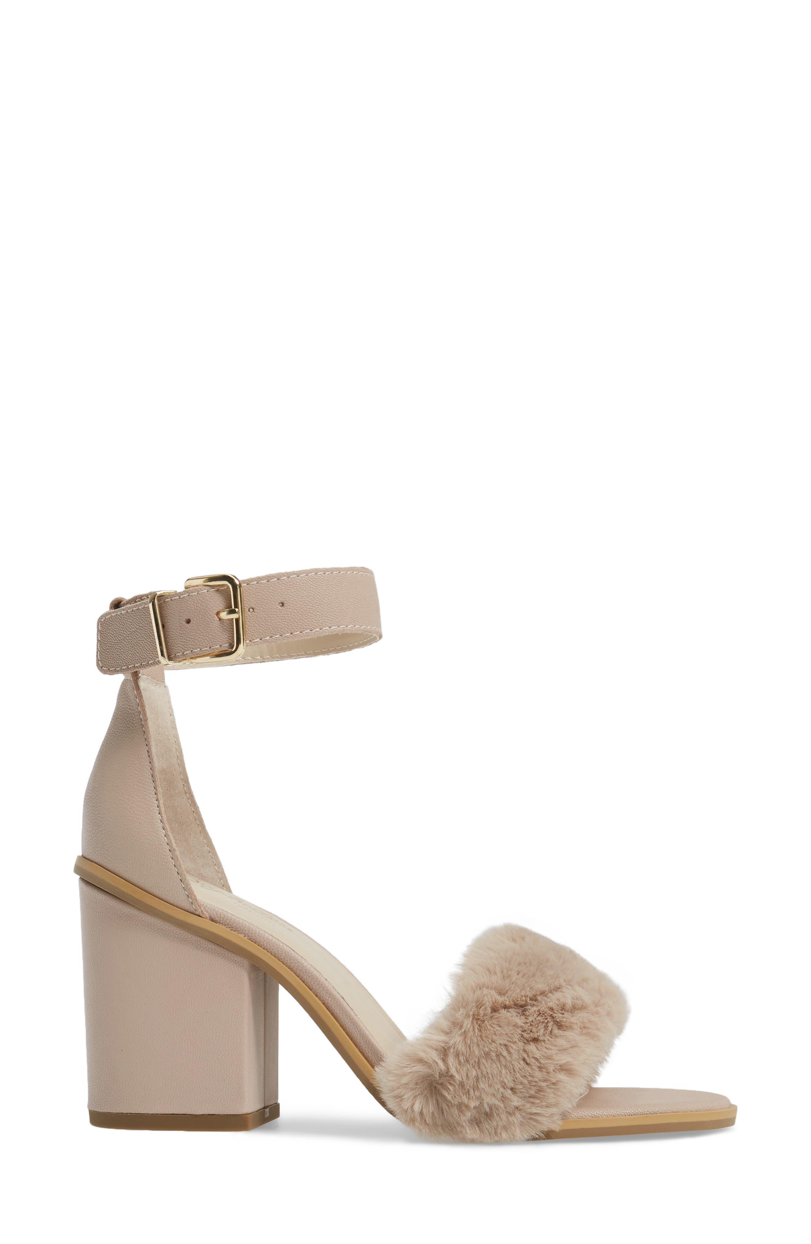 Faux Fur Ankle Strap Sandal,                             Alternate thumbnail 6, color,