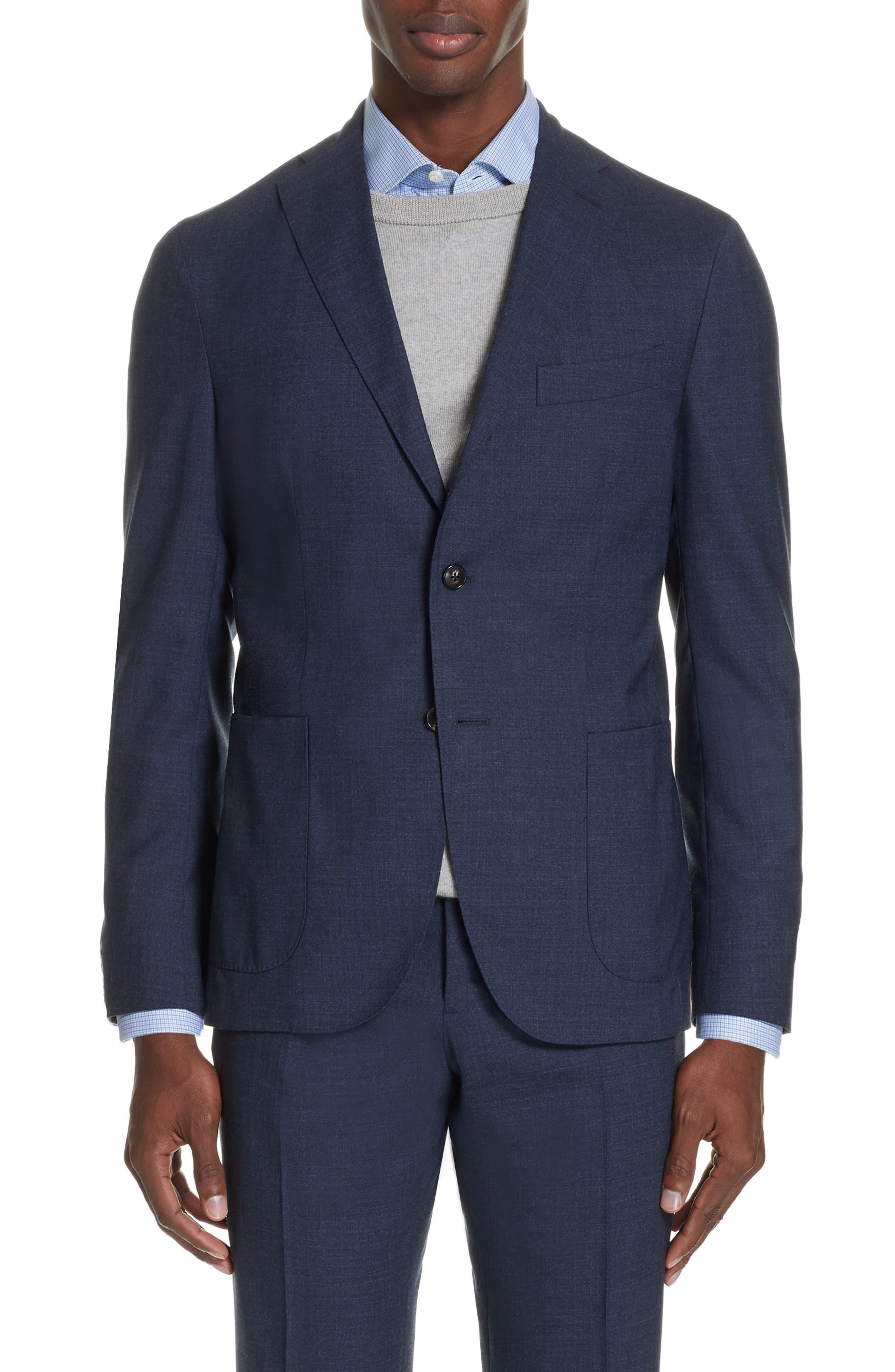 Trim Fit Solid Wool Suit,                             Alternate thumbnail 5, color,                             BLUE