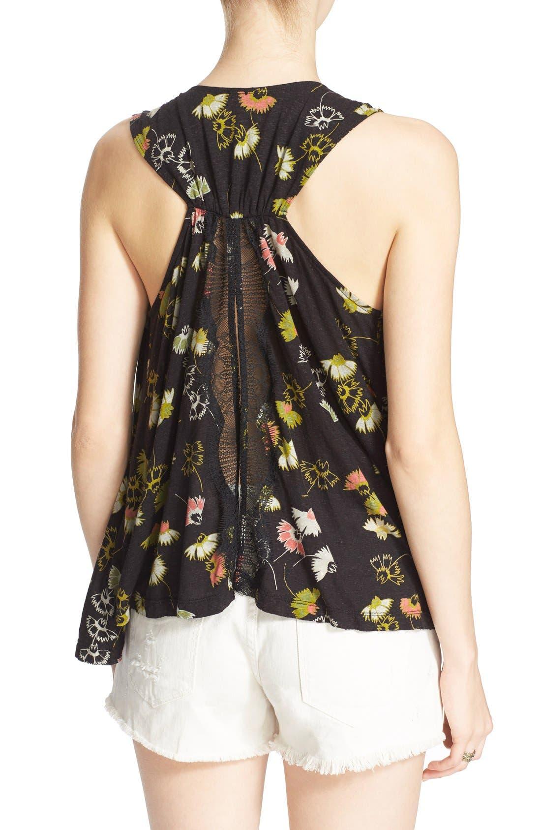 'Love Potion' Floral Print Sleeveless Knit Top,                             Alternate thumbnail 5, color,                             001