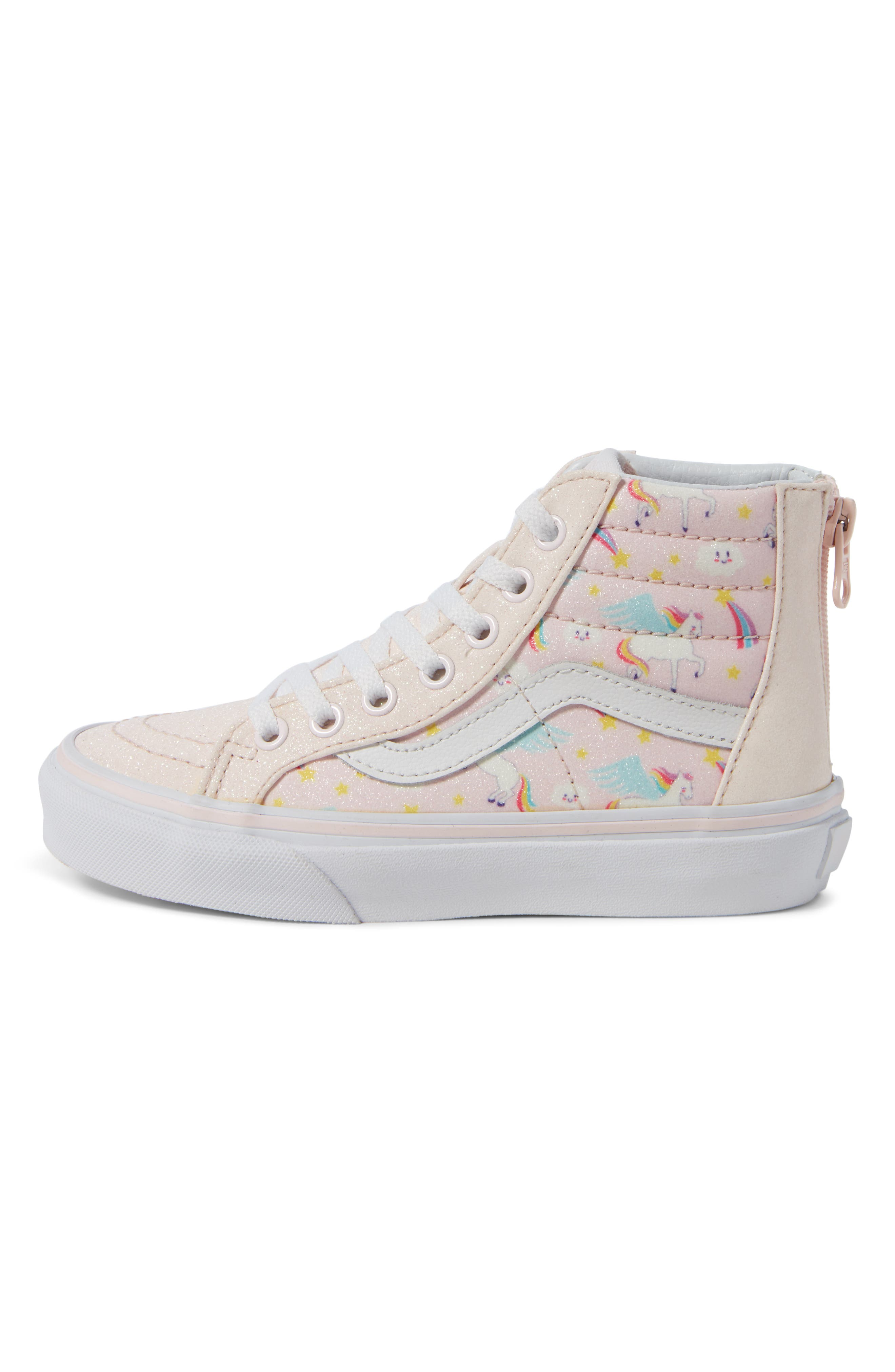 Sk8-Hi Zip Sneaker,                             Alternate thumbnail 3, color,                             GLITTER PEGASUS PINK/ WHITE