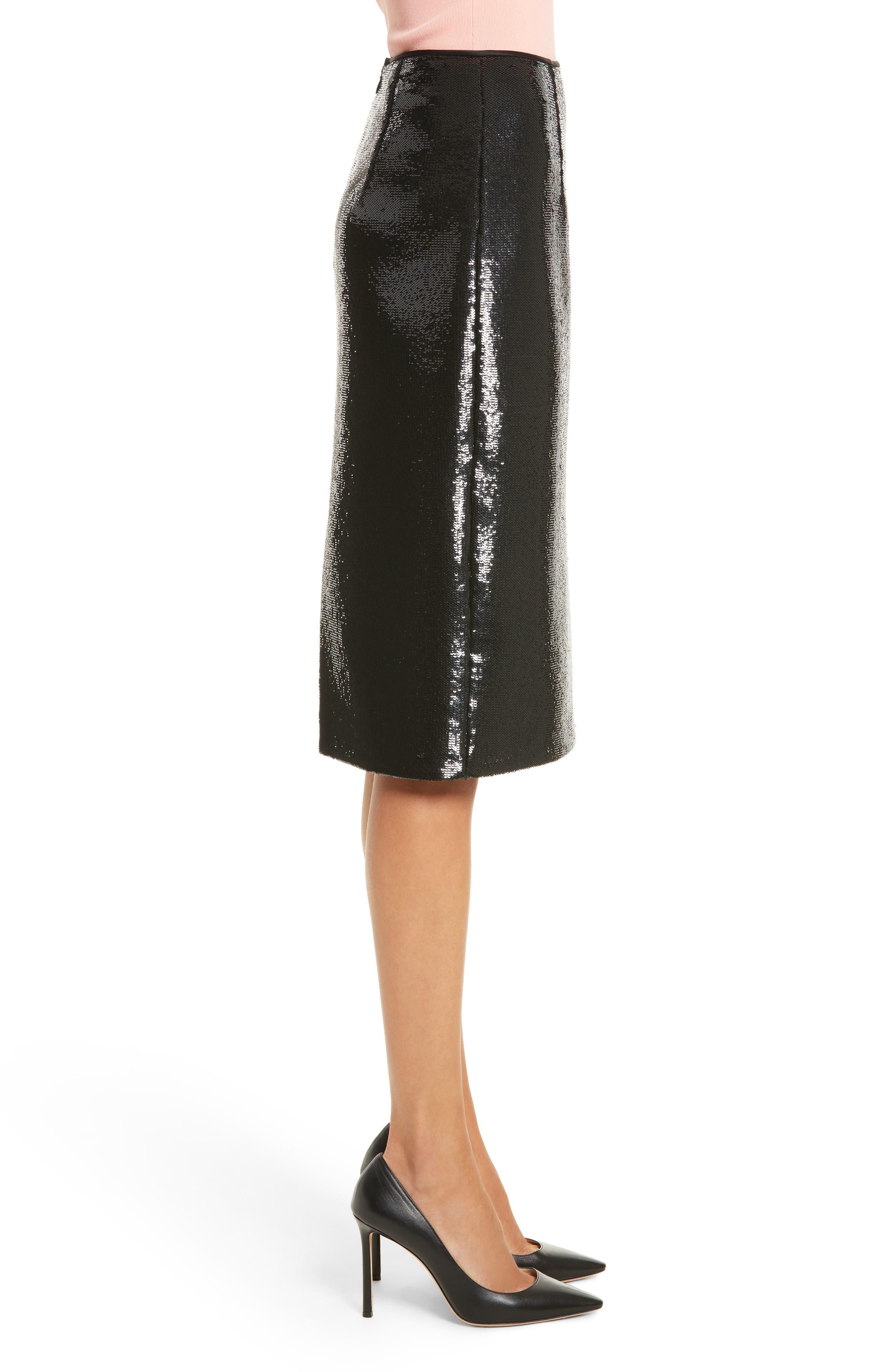 Diane von Furstenberg Sequin Pencil Skirt,                             Alternate thumbnail 3, color,                             001