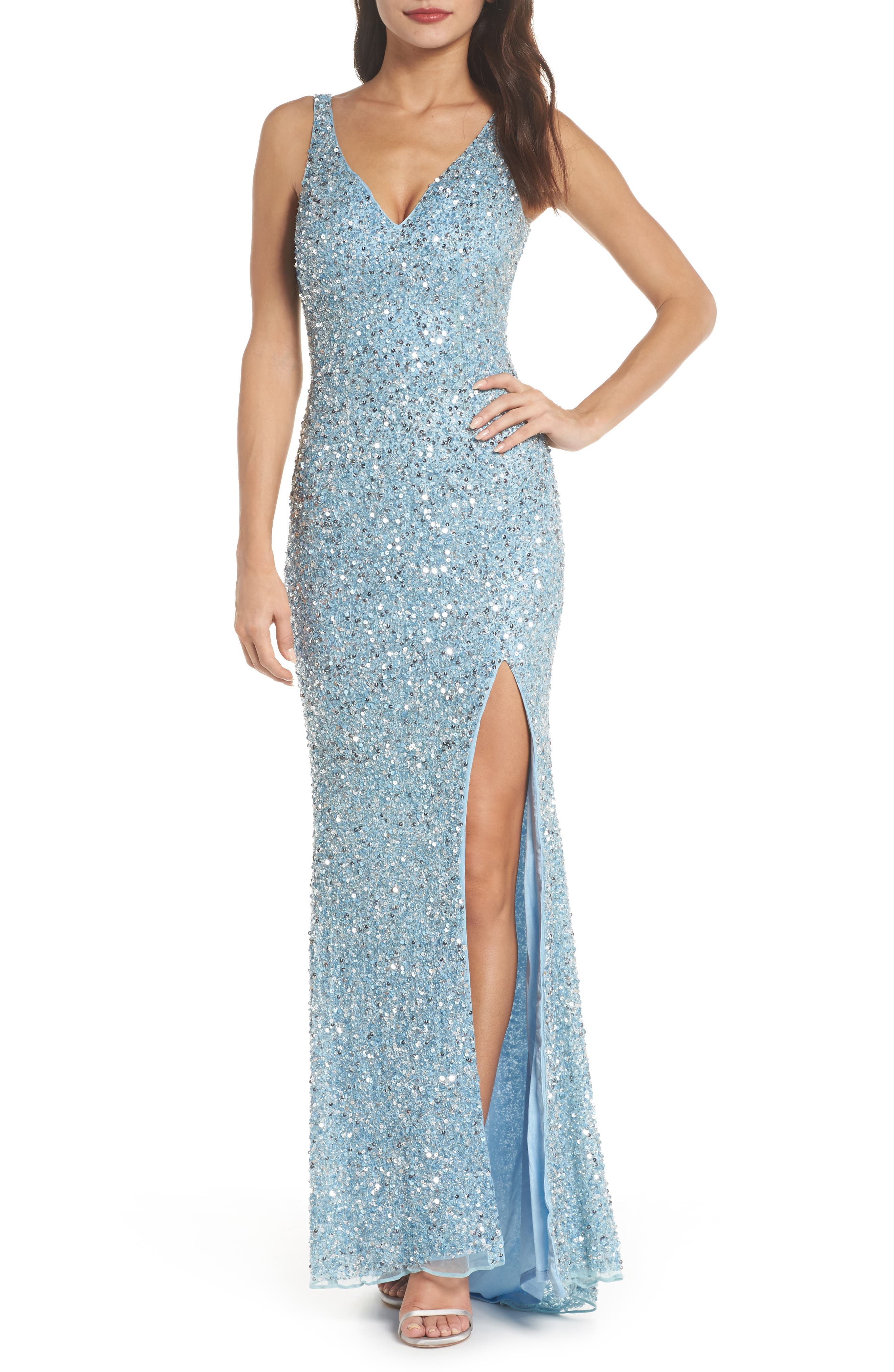 MAC Duggal V-Neck Sequin Gown, Blue