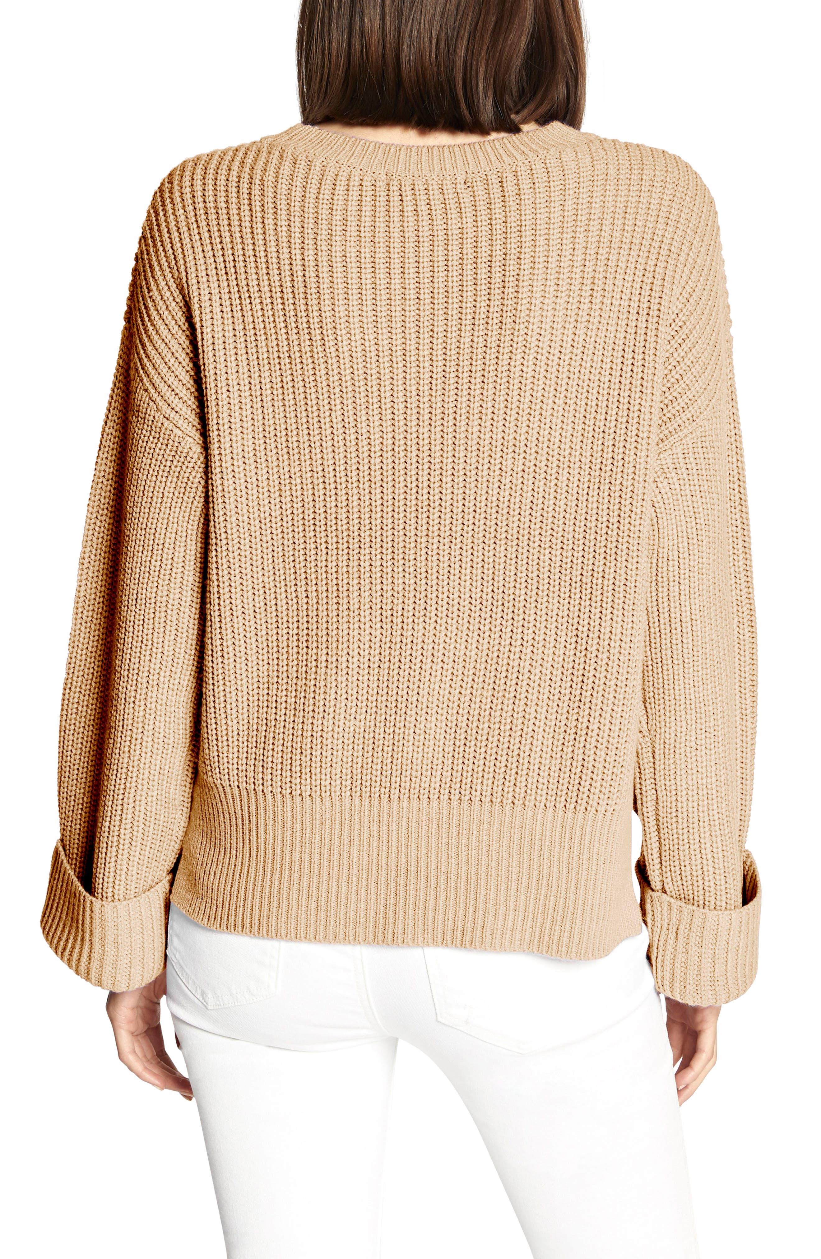 Bell Sleeve Shaker Sweater,                             Alternate thumbnail 2, color,                             CHAMPAGNE