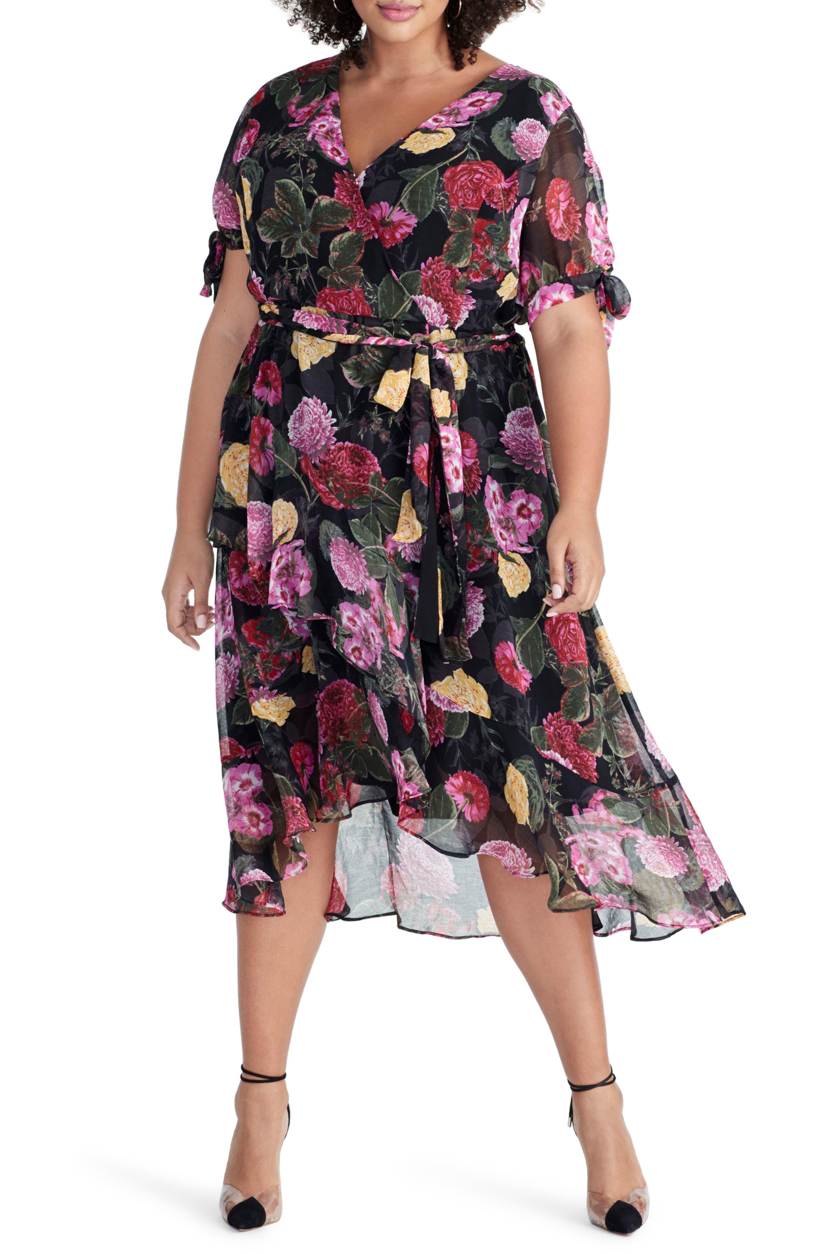 Plus Size Rachel Rachel Roy Rina Floral Print Chiffon Dress, Black