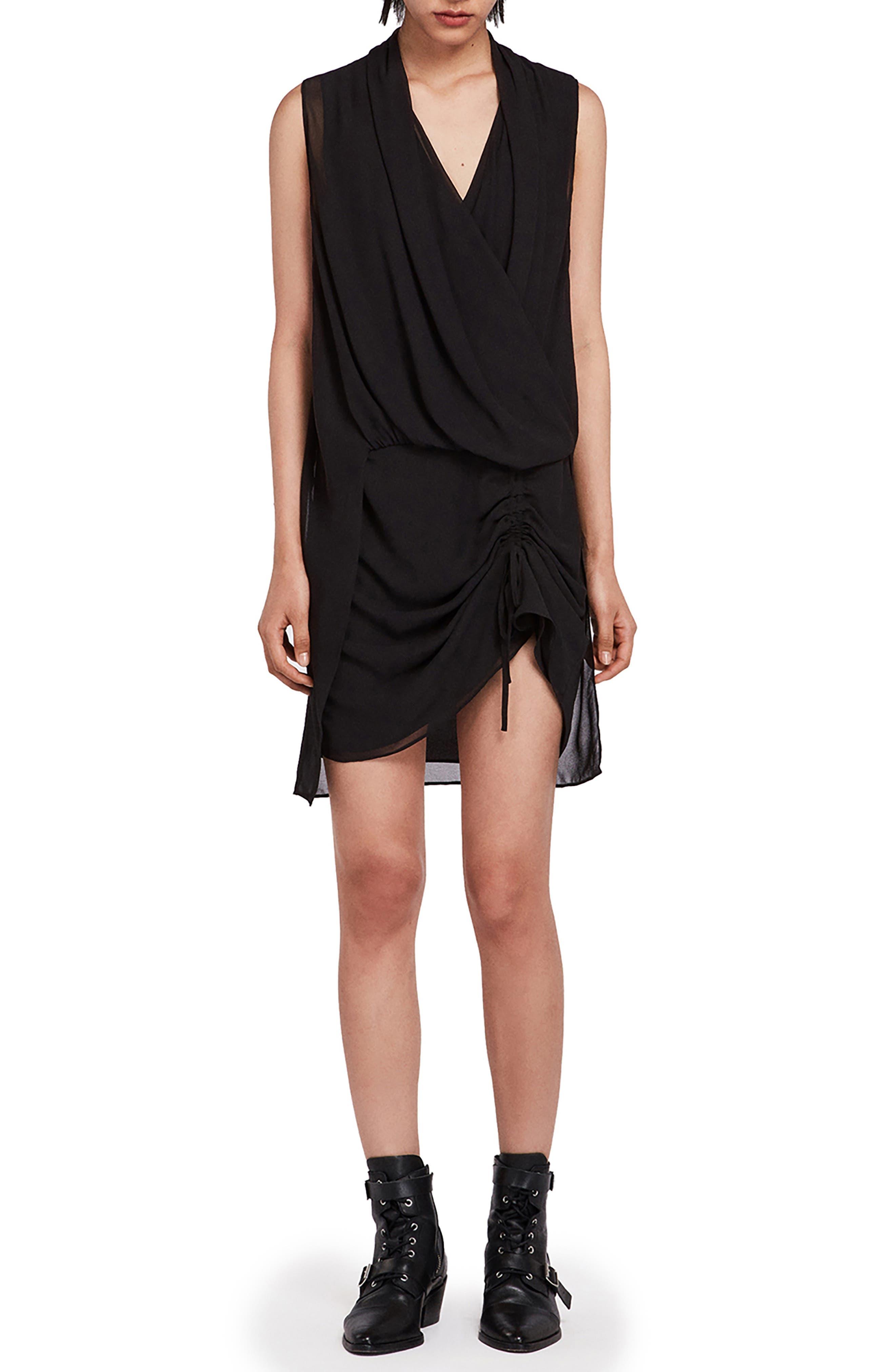 ALLSAINTS Cathea Draped Dress in Black