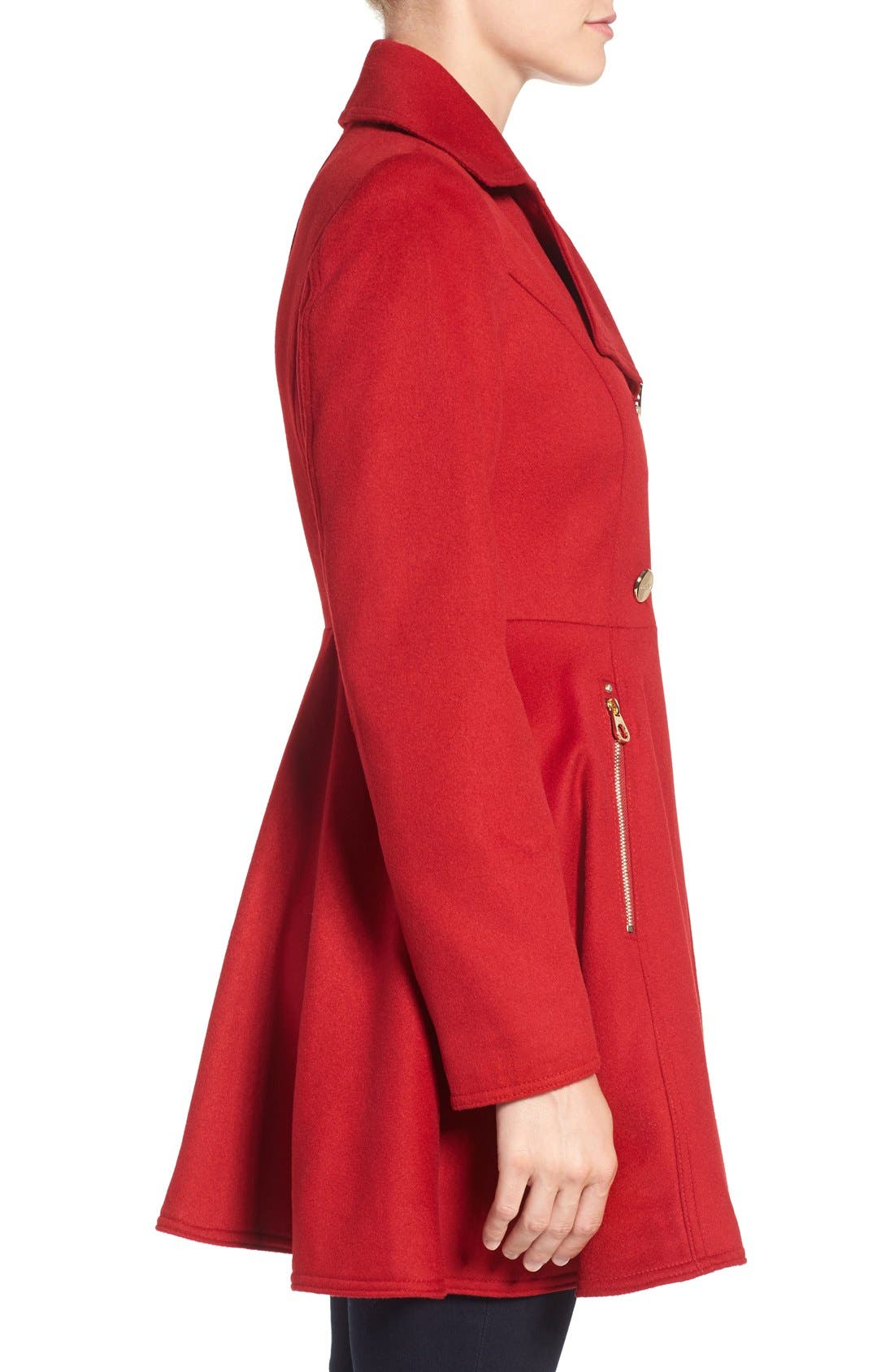 Laundry by Shelli Segal Double Breasted Fit & Flare Coat,                             Alternate thumbnail 23, color,