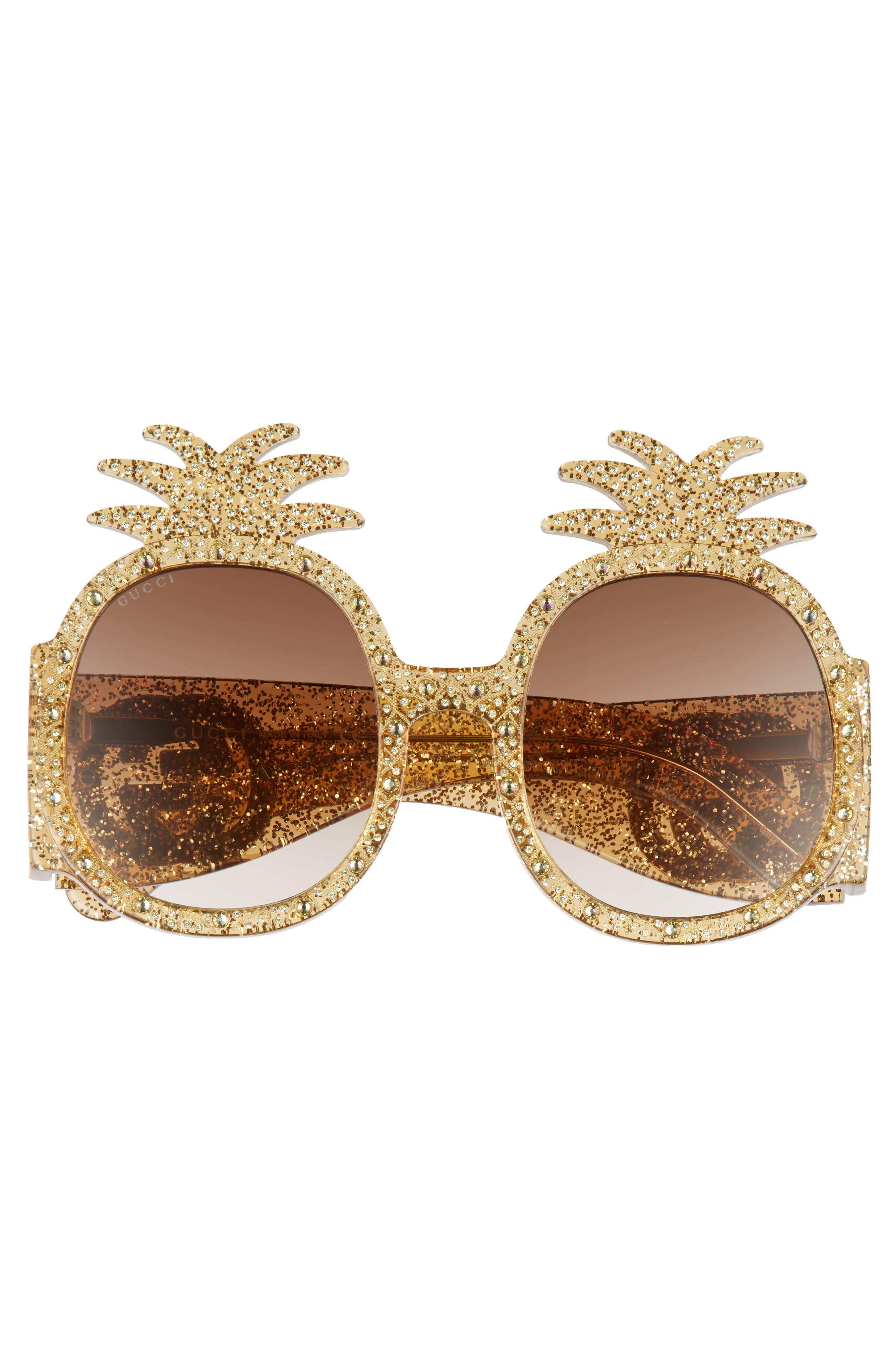 53mm Pineapple Sunglasses,                             Alternate thumbnail 4, color,                             GOLD