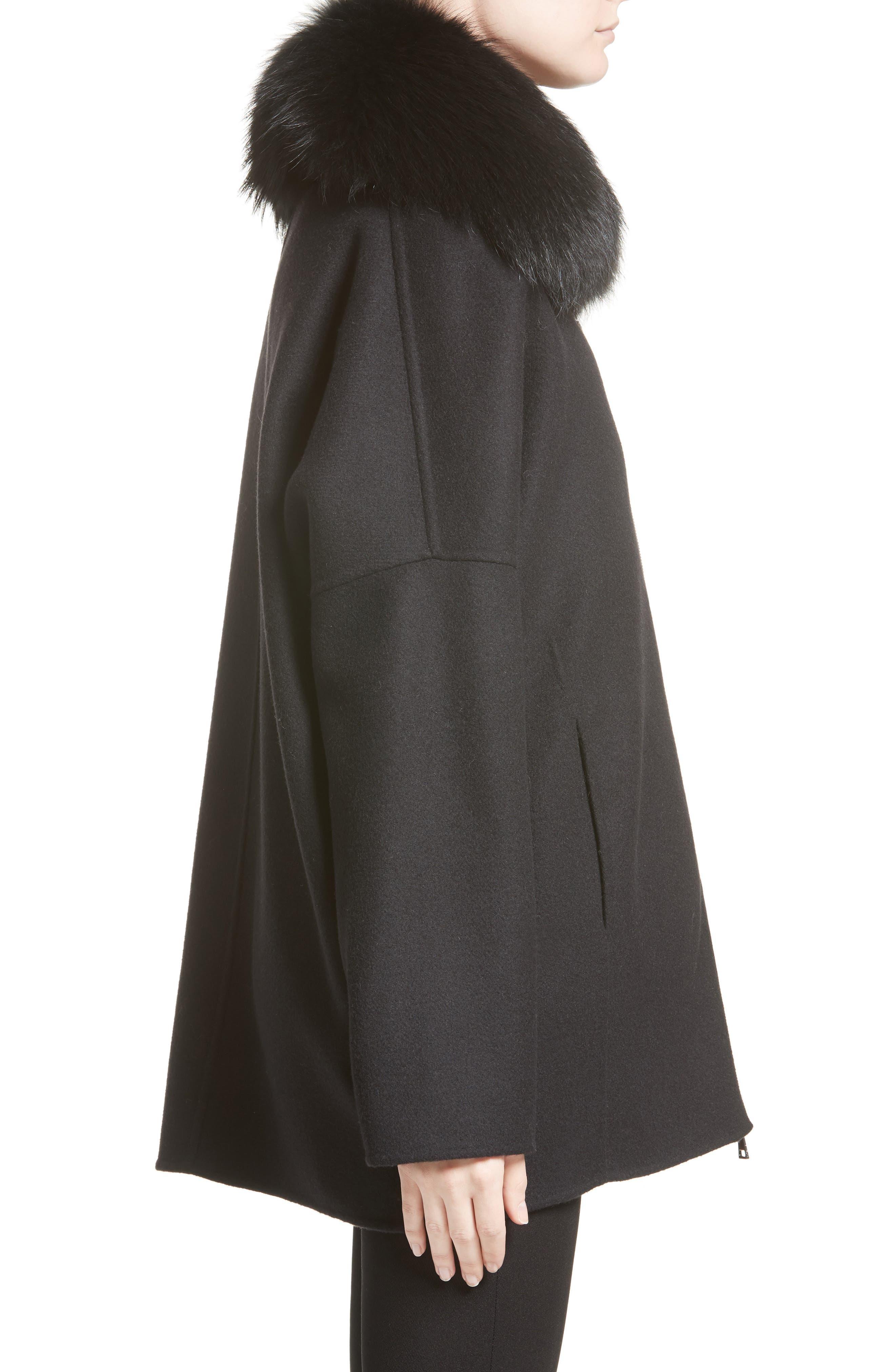 Buxus Wool & Cashmere Coat with Removable Genuine Fox Fur Trim Vest,                             Alternate thumbnail 3, color,                             001