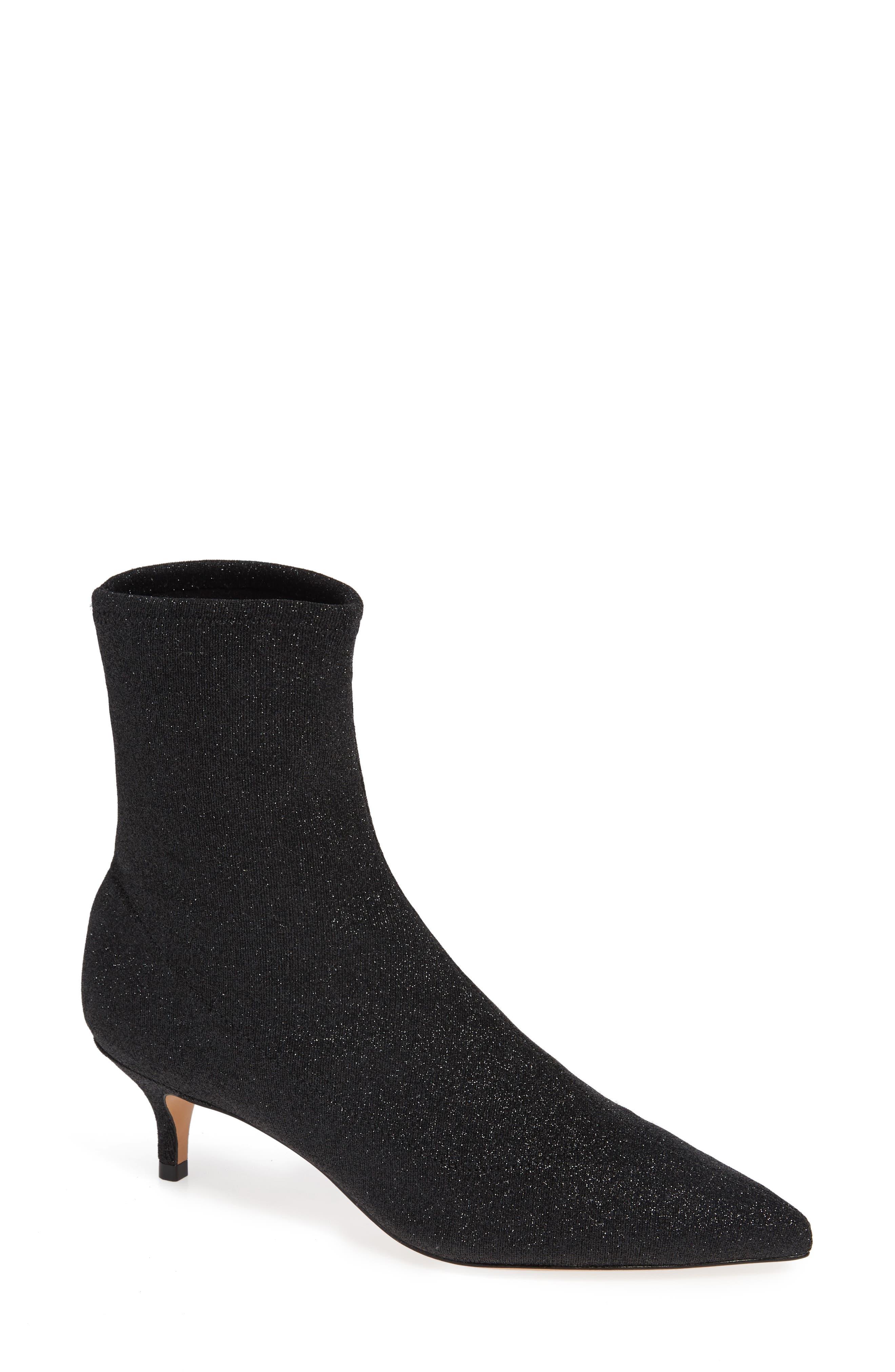 Schutz Albertin Glitter Sock Bootie, Black