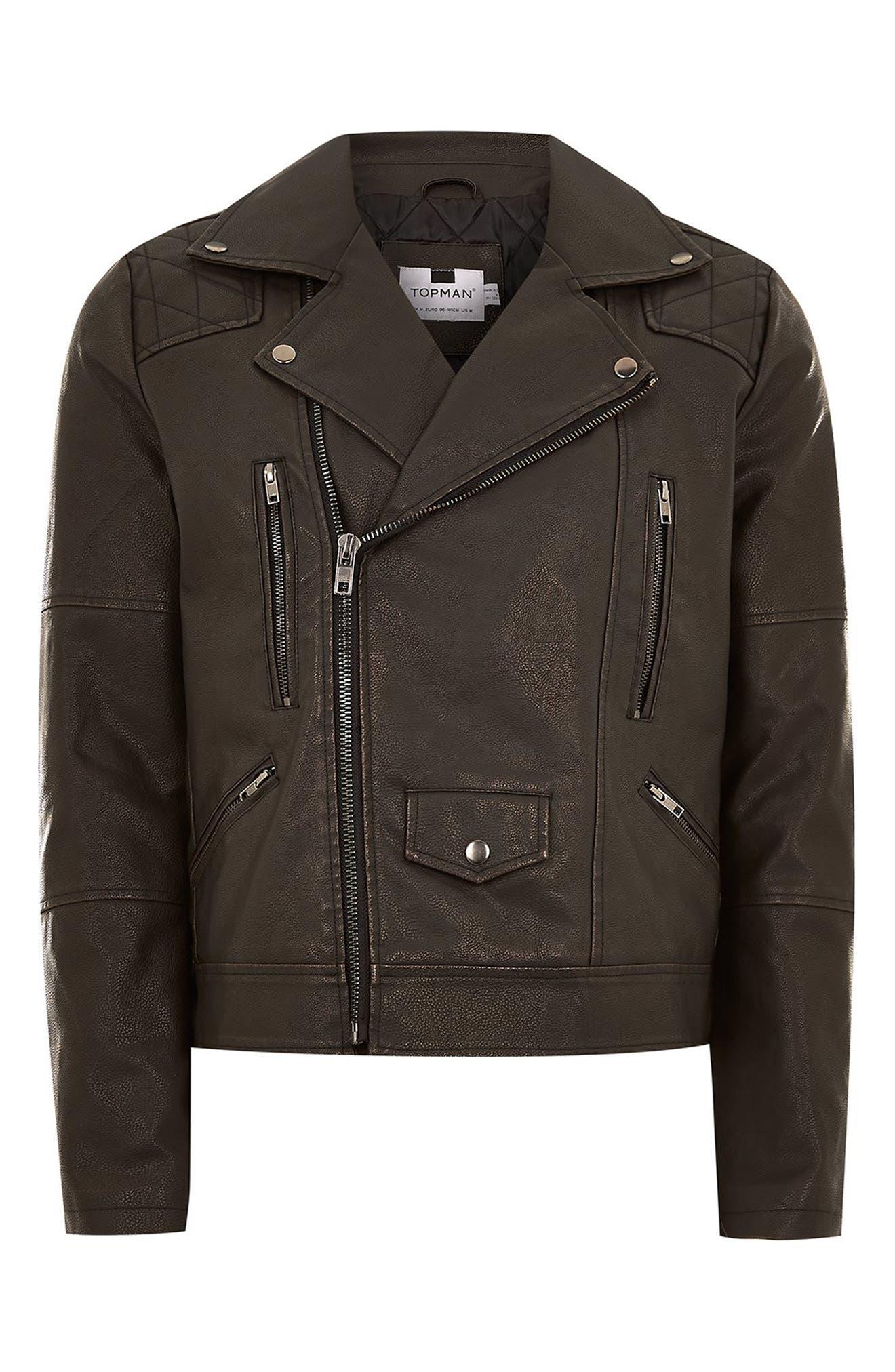 Classic Fit Faux Leather Biker Jacket,                             Alternate thumbnail 4, color,                             BLACK