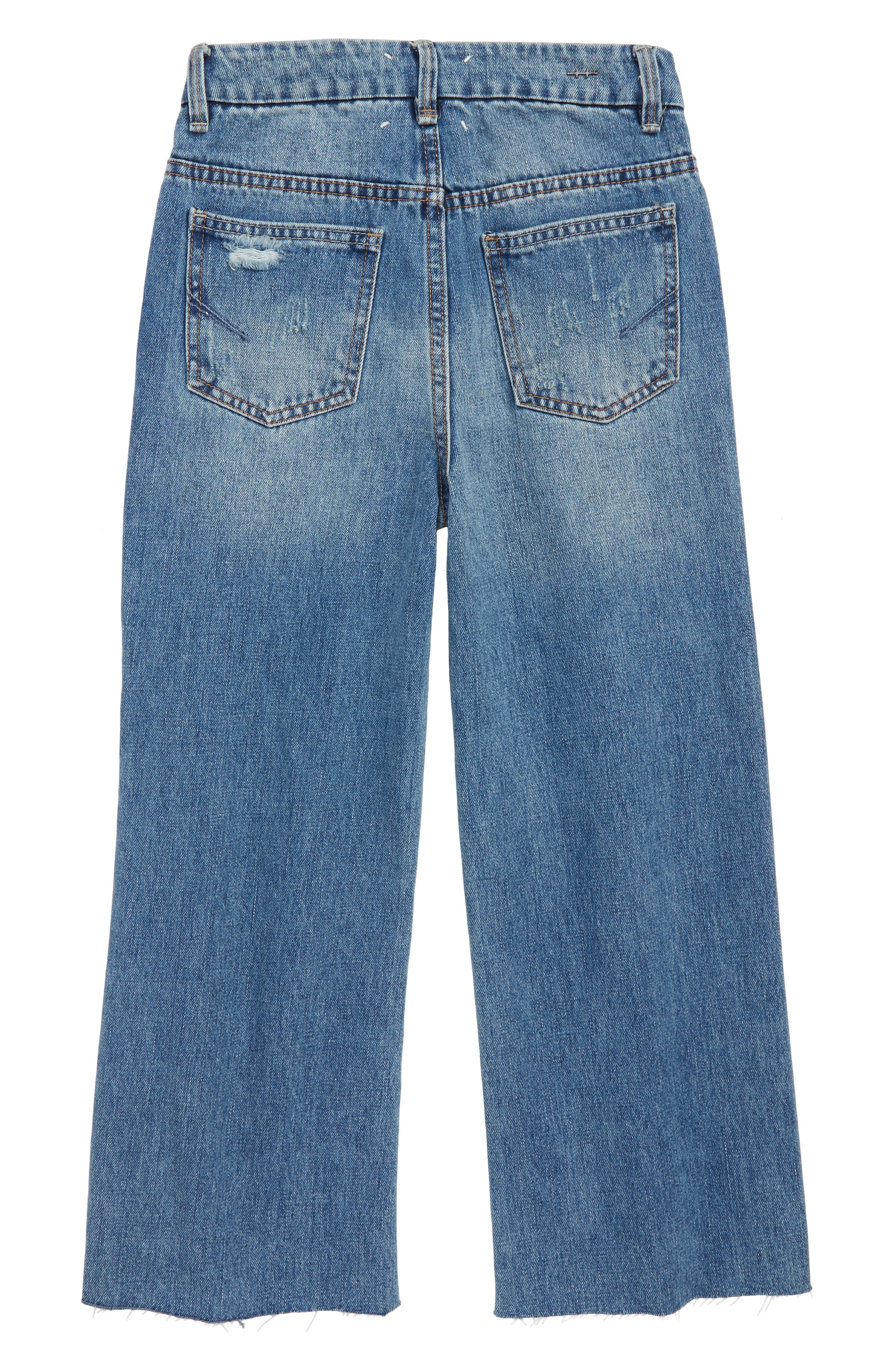 High Rise Wide Leg Crop Jeans,                             Alternate thumbnail 2, color,                             MED STONE