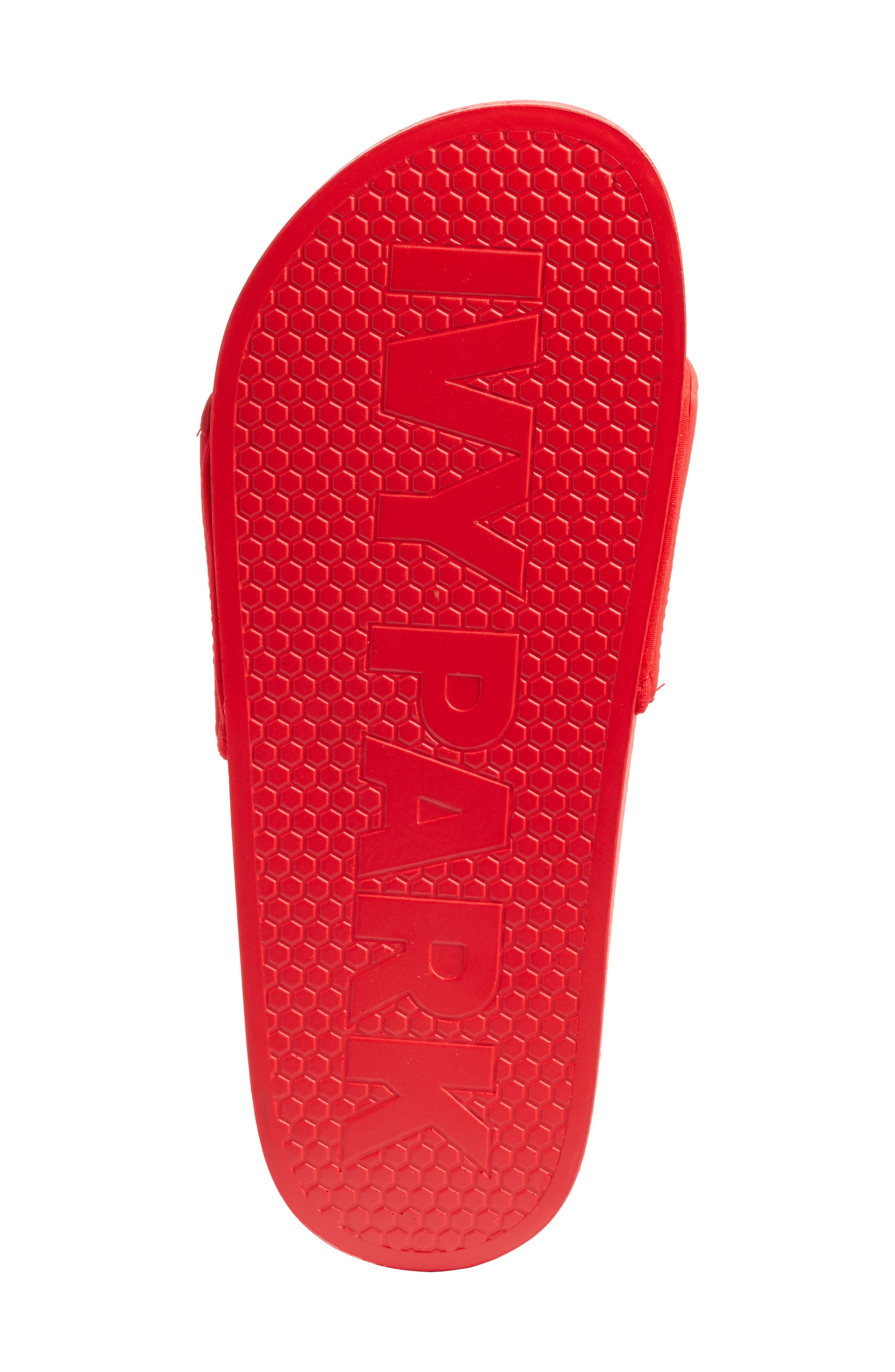 Embossed Logo Slide Sandal,                             Alternate thumbnail 6, color,                             FIERY RED