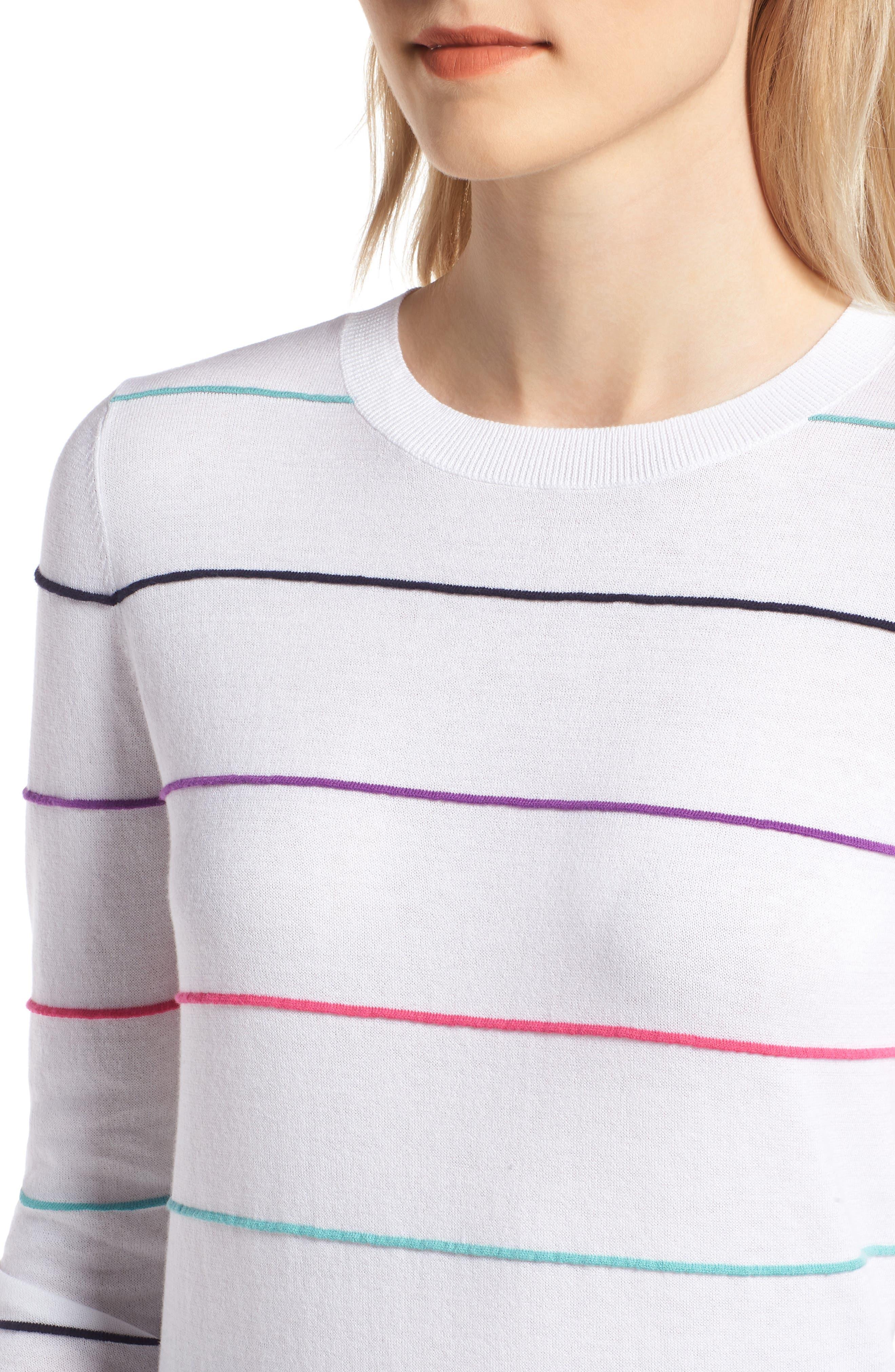 Stripe Cotton Sweater,                             Alternate thumbnail 4, color,                             100