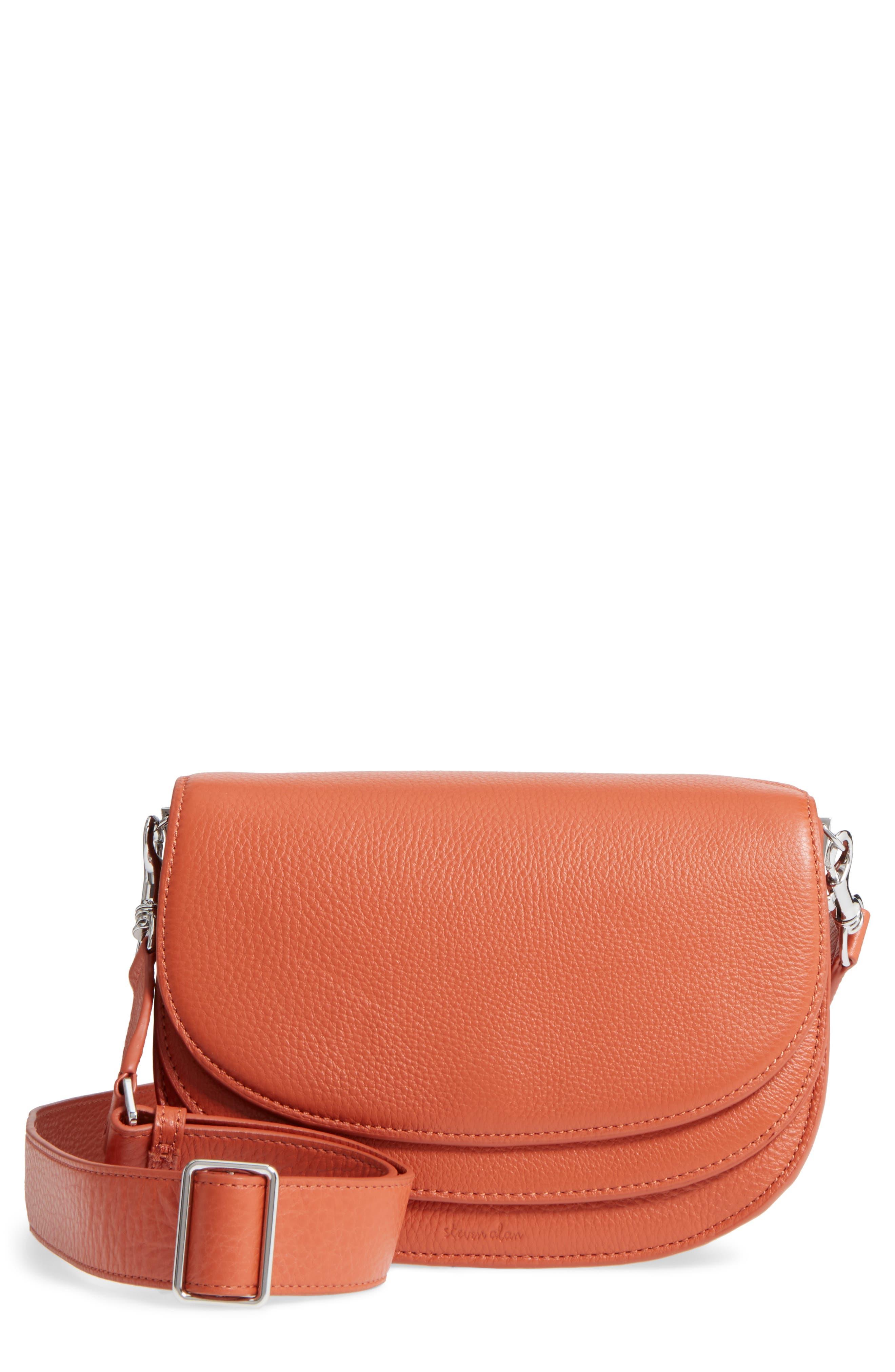 Landon Leather Crossbody Saddle Bag,                             Main thumbnail 4, color,