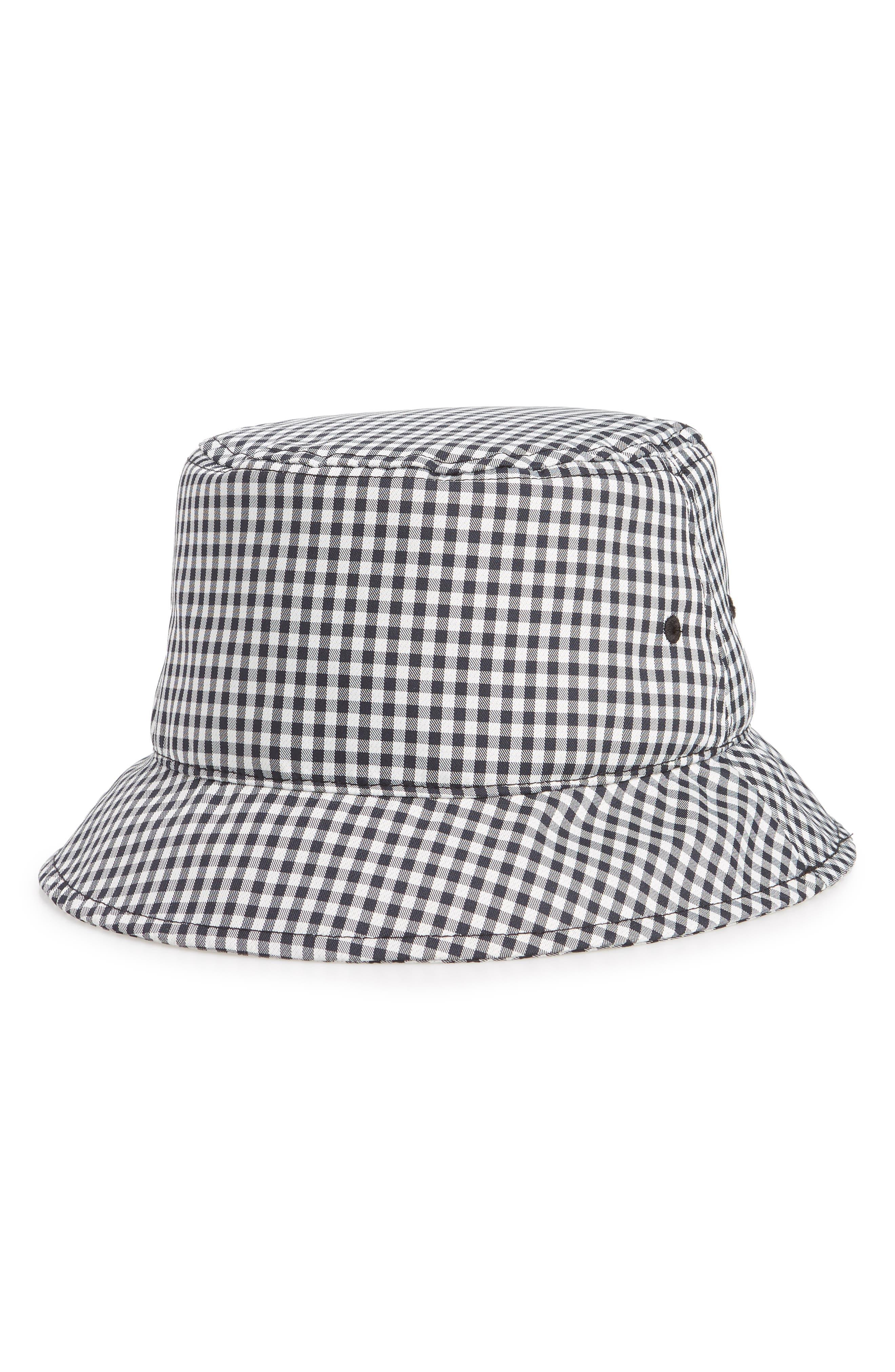Ellis Bucket Hat,                         Main,                         color, NAVY GINGHAM