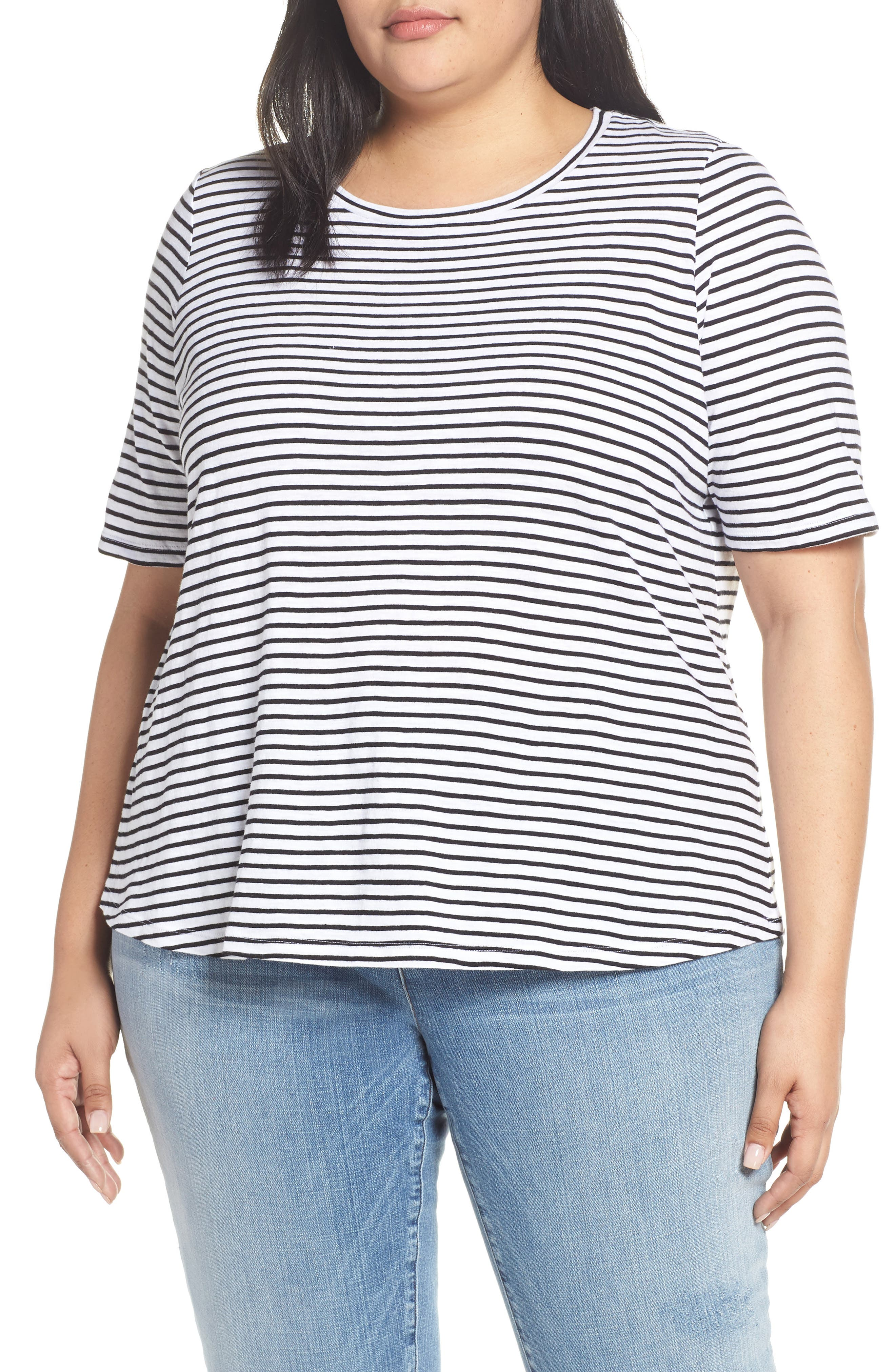 EILEEN FISHER Stripe Organic Cotton Top, Main, color, WHITE/ BLACK