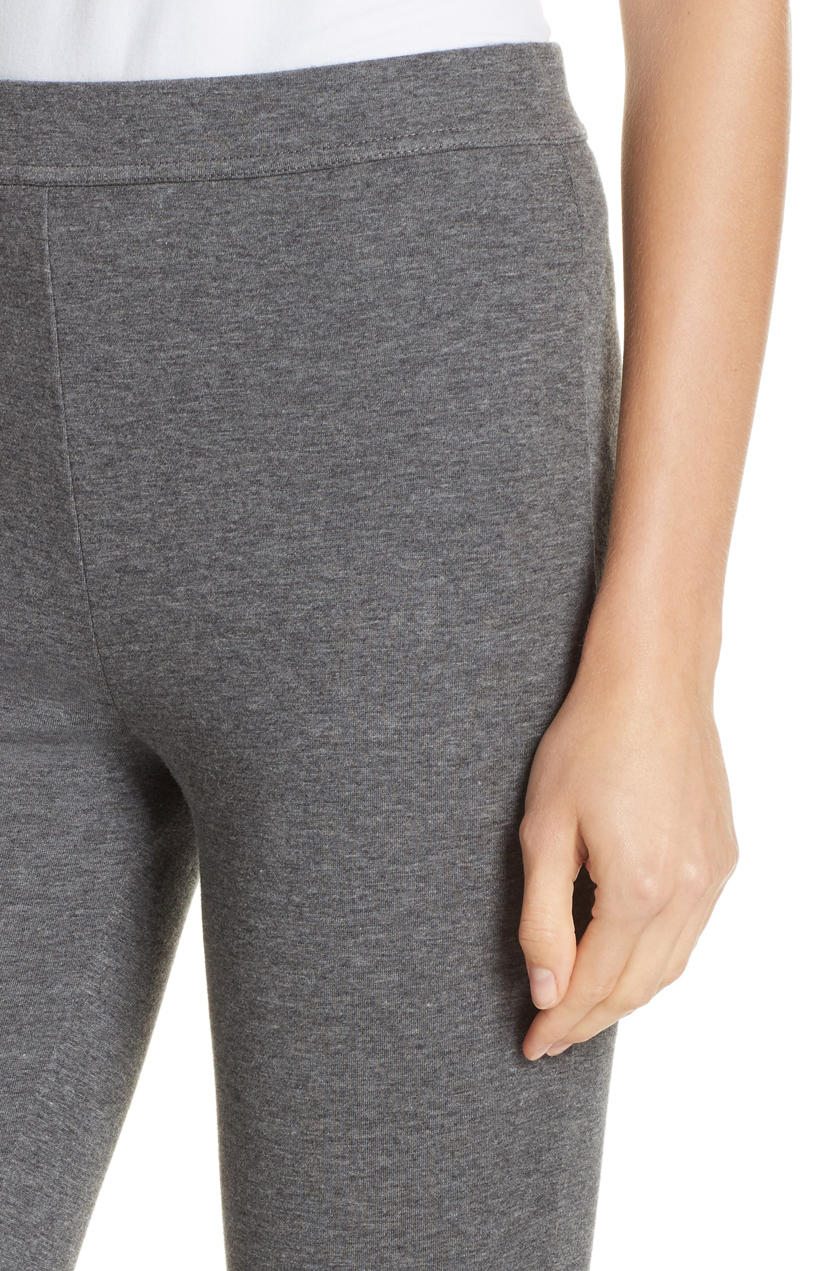 Heathered Cotton Blend Leggings,                             Alternate thumbnail 4, color,                             HEATHER CHARCOAL