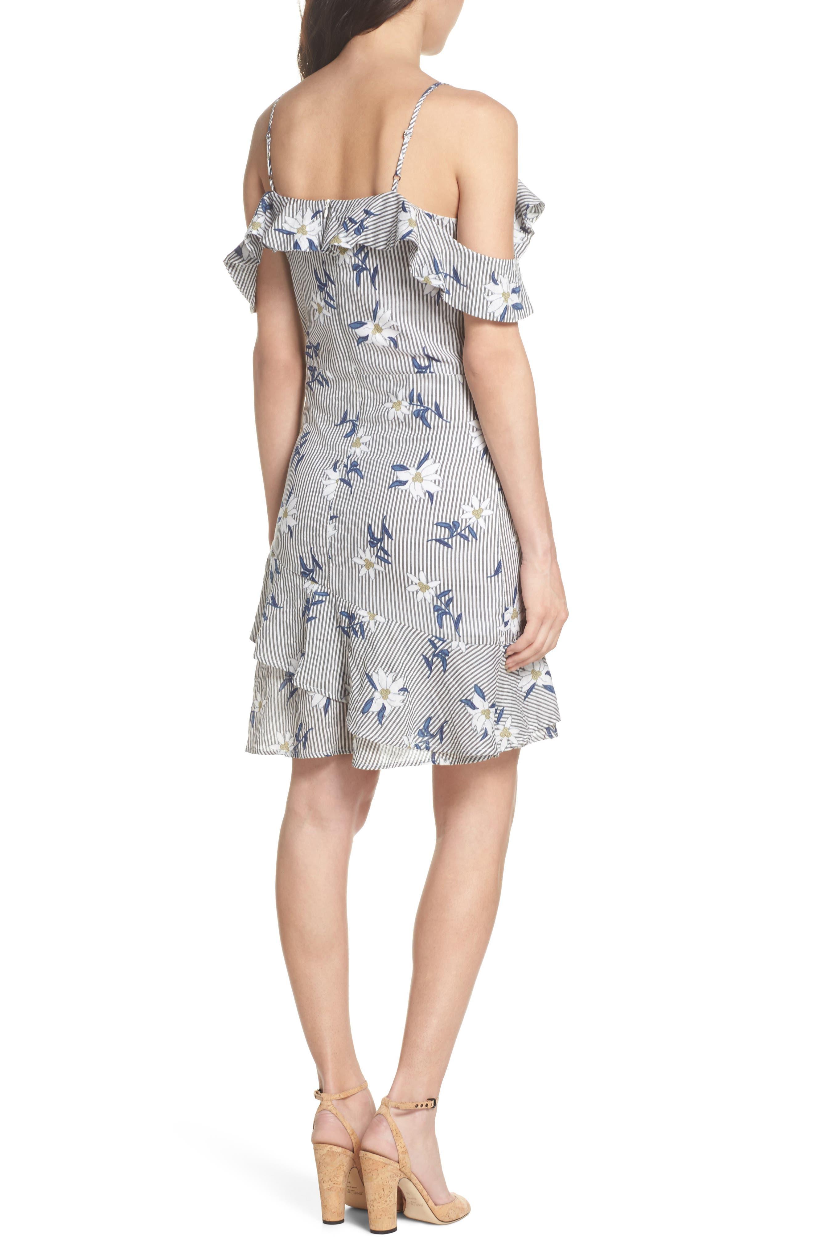 Printed Cold Shoulder Ruffle Dress,                             Alternate thumbnail 2, color,                             020