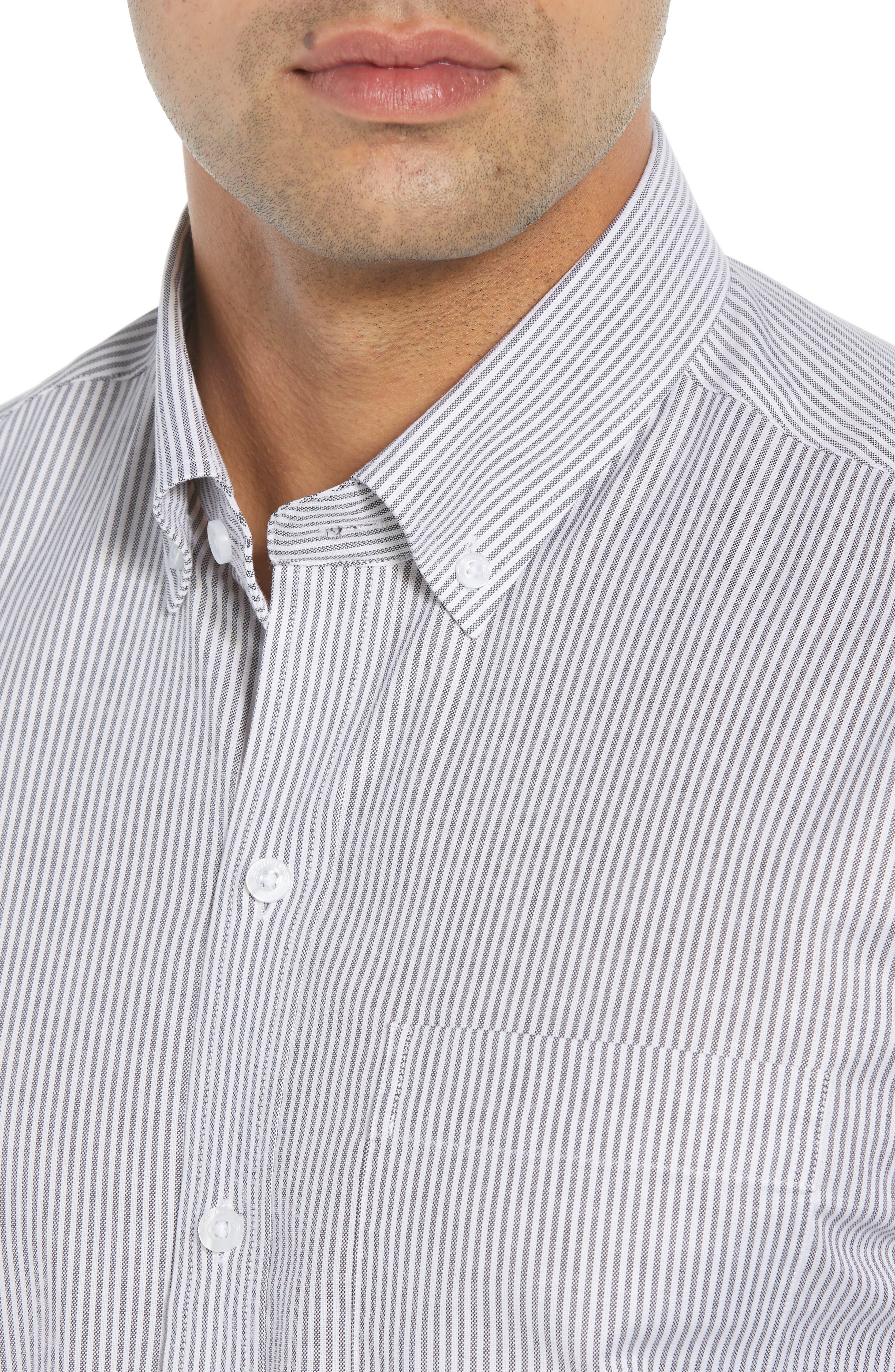 Regular Fit Stripe Stretch Oxford Shirt,                             Alternate thumbnail 2, color,                             CHARCOAL