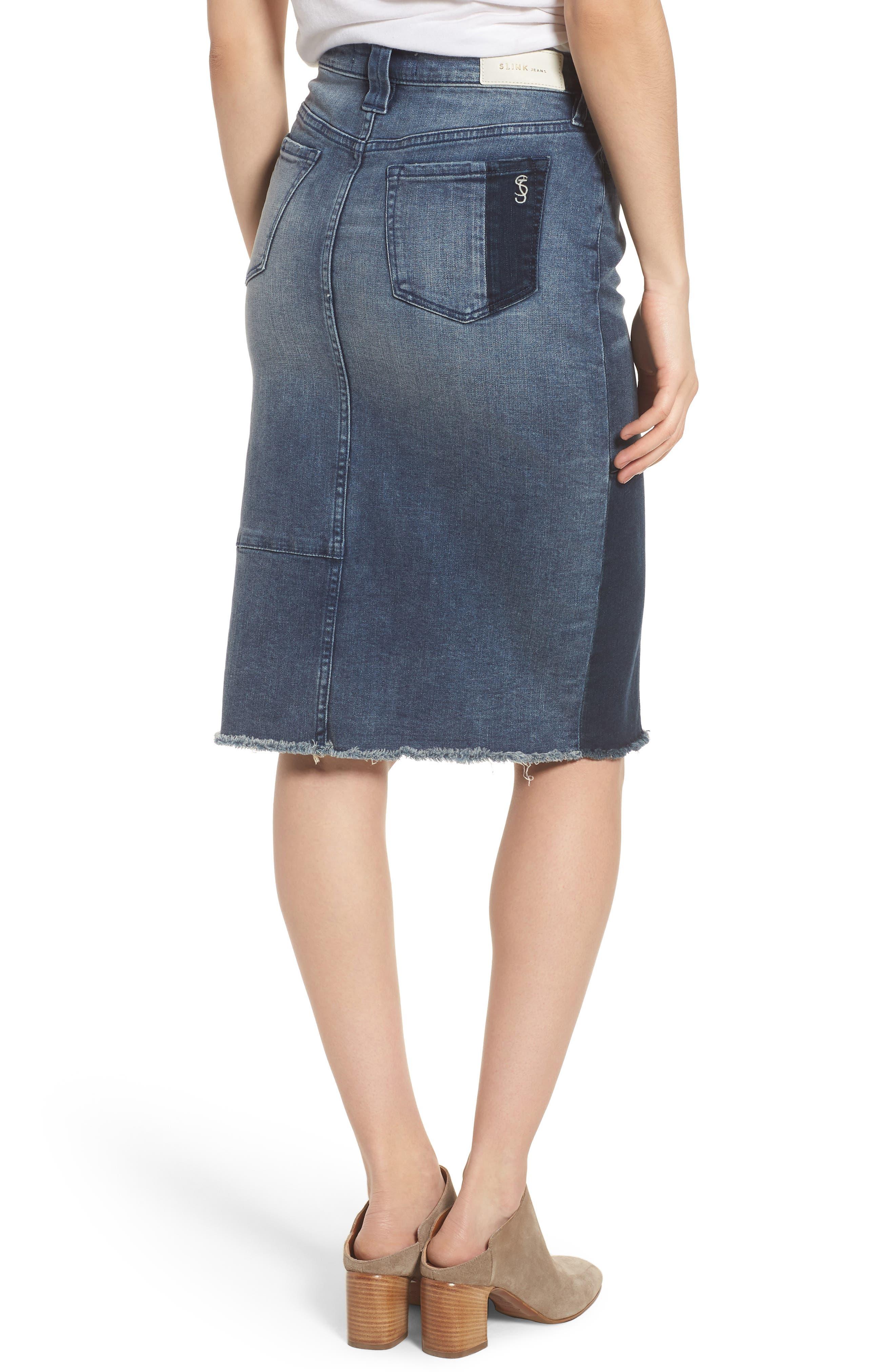 Patchwork Denim Skirt,                             Alternate thumbnail 2, color,                             VANESSA