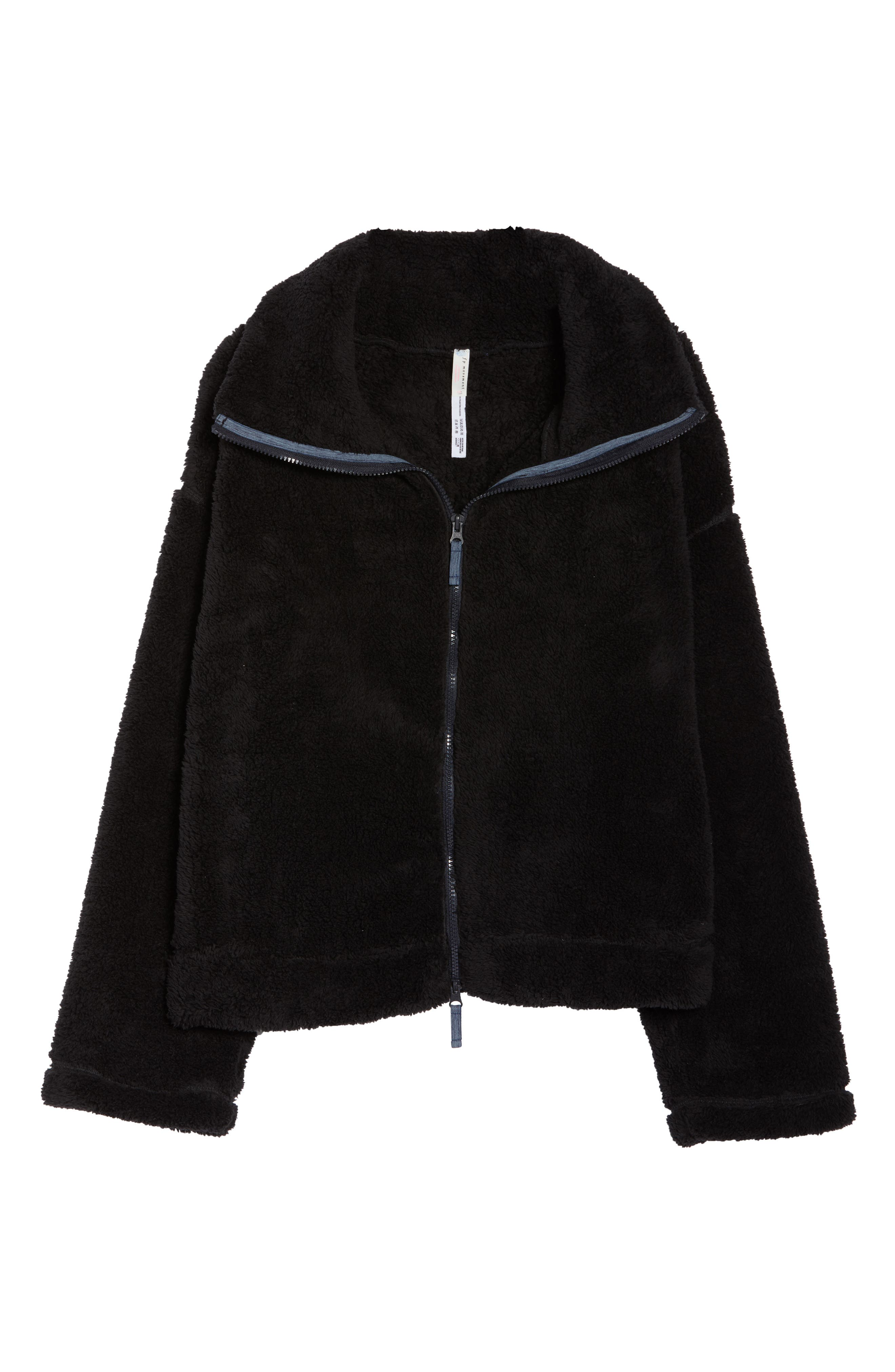 Dazed Fleece Jacket,                             Alternate thumbnail 7, color,                             BLACK