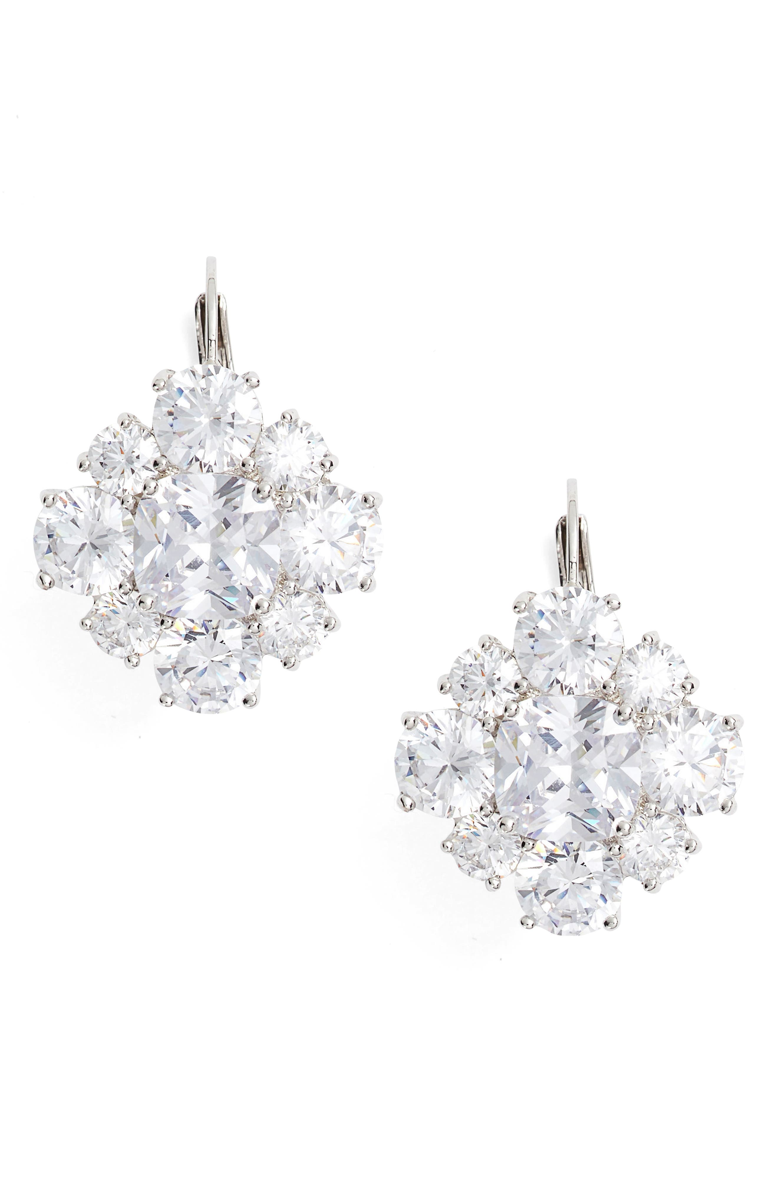 Crystal Drop Earrings,                         Main,                         color, SILVER