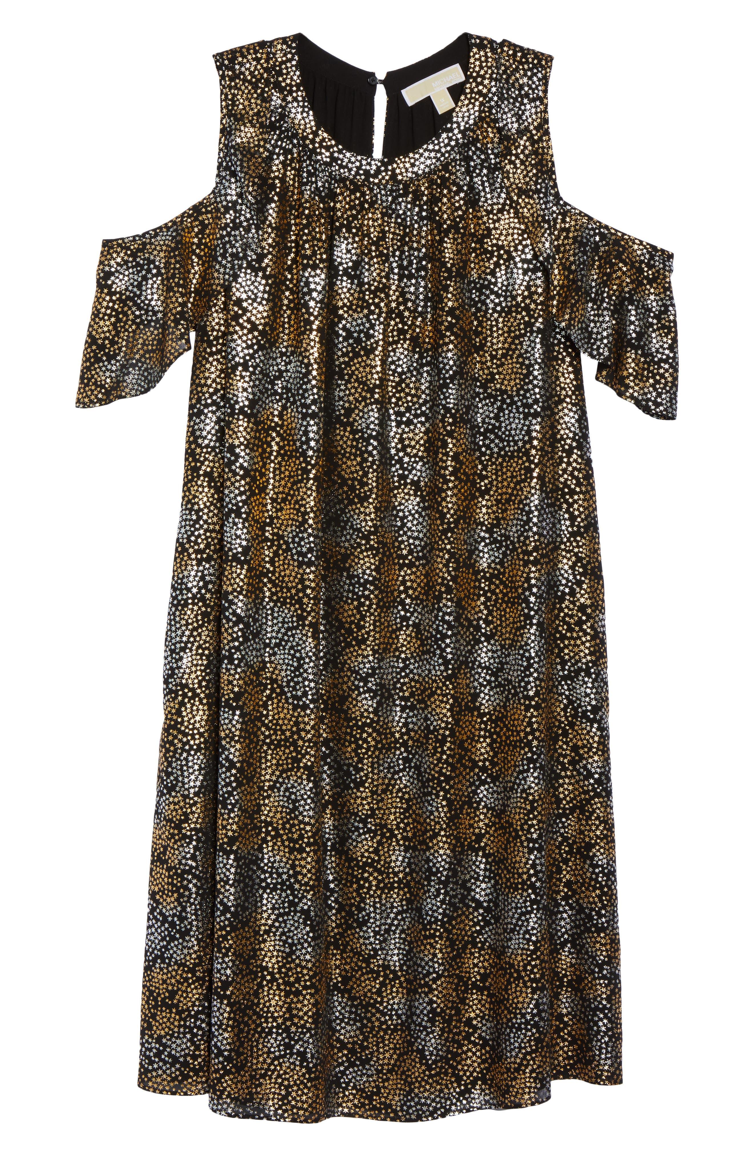 Cold Shoulder Metallic Star A-Line Dress,                             Alternate thumbnail 6, color,                             047